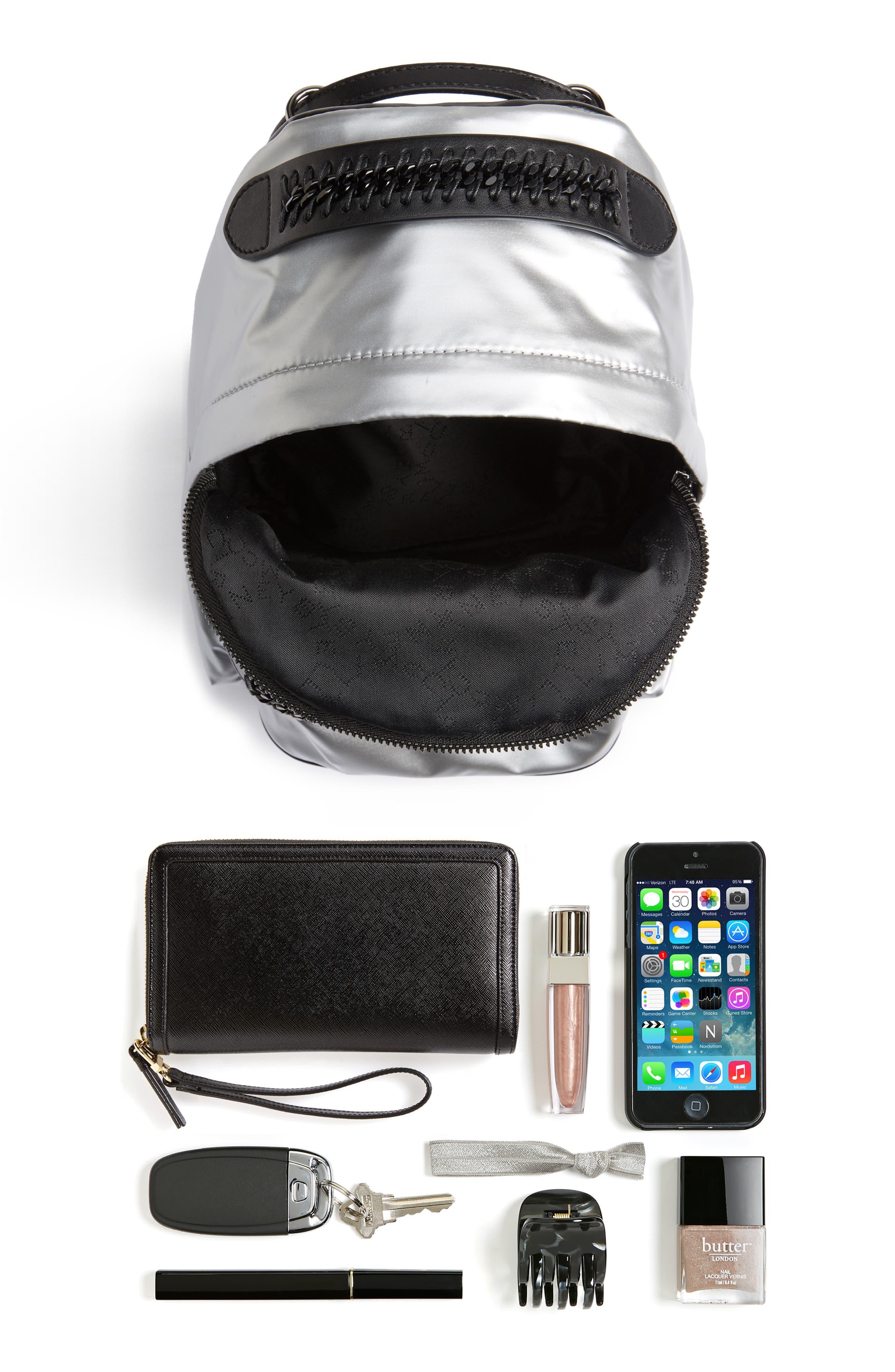 Mini Metallic Nylon Backpack,                             Alternate thumbnail 7, color,                             045