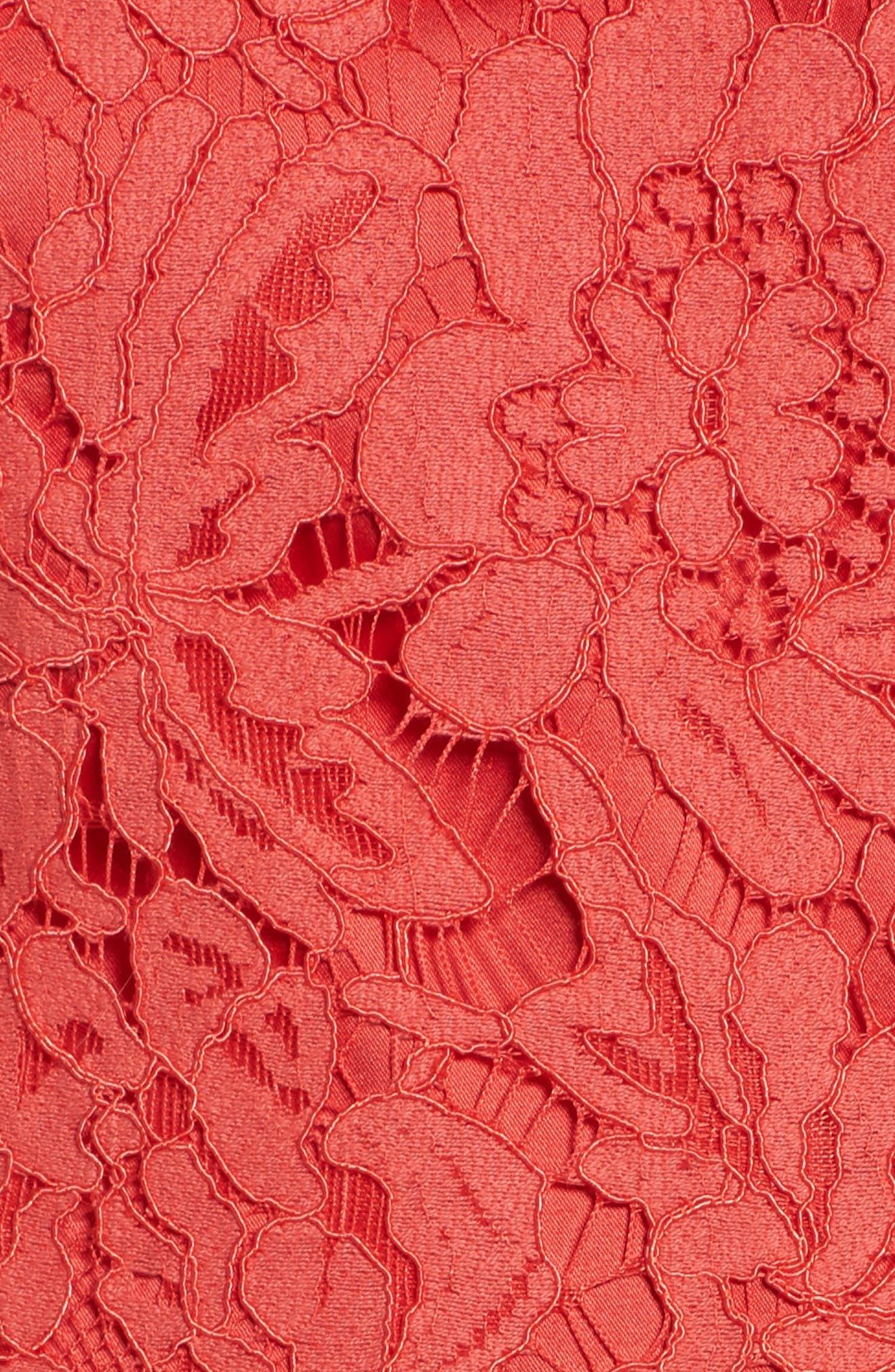 Open Back Lace Sheath Dress,                             Alternate thumbnail 5, color,                             GRENADINE