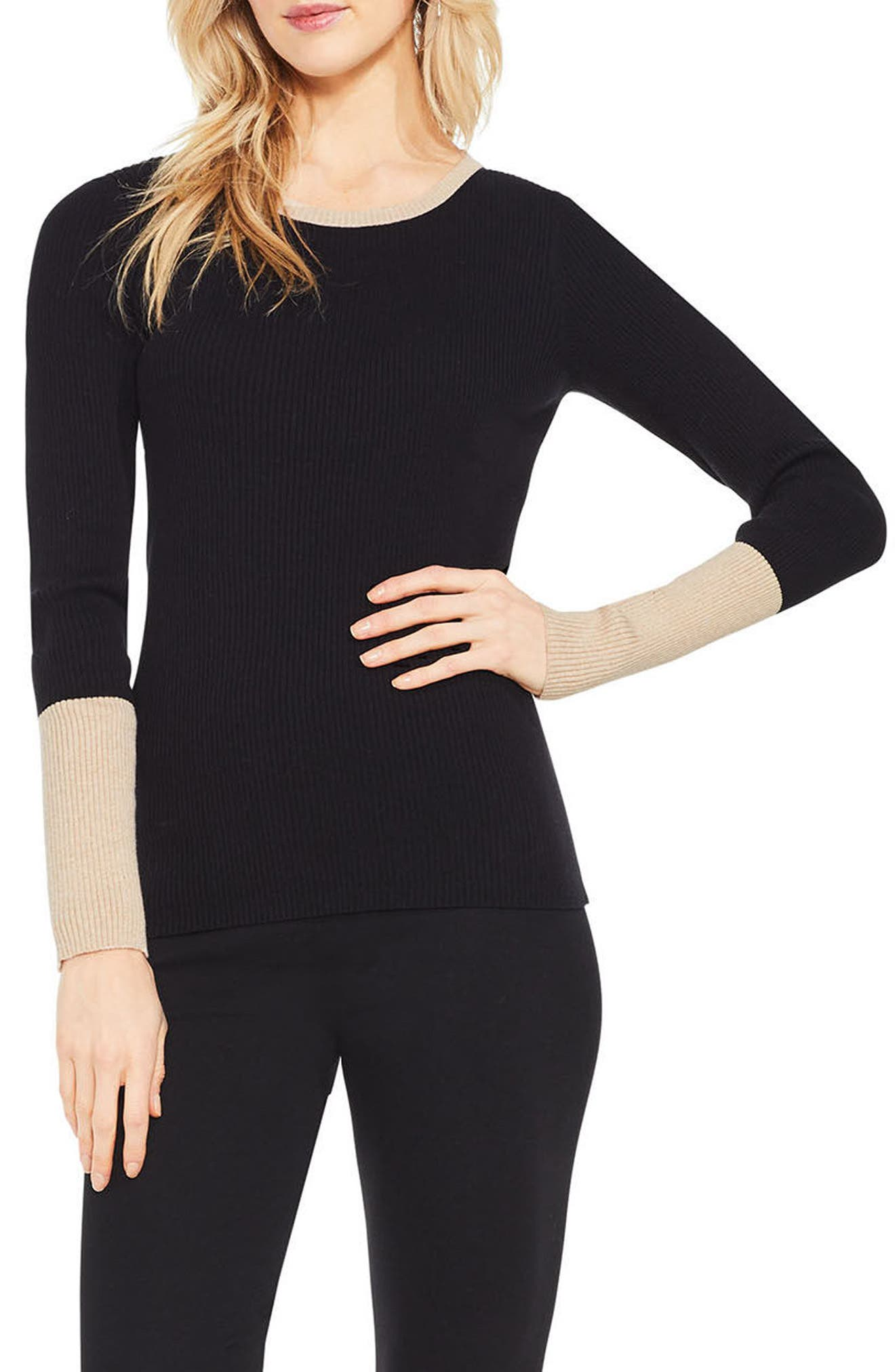 Colorblock Ribbed Sweater,                             Main thumbnail 2, color,