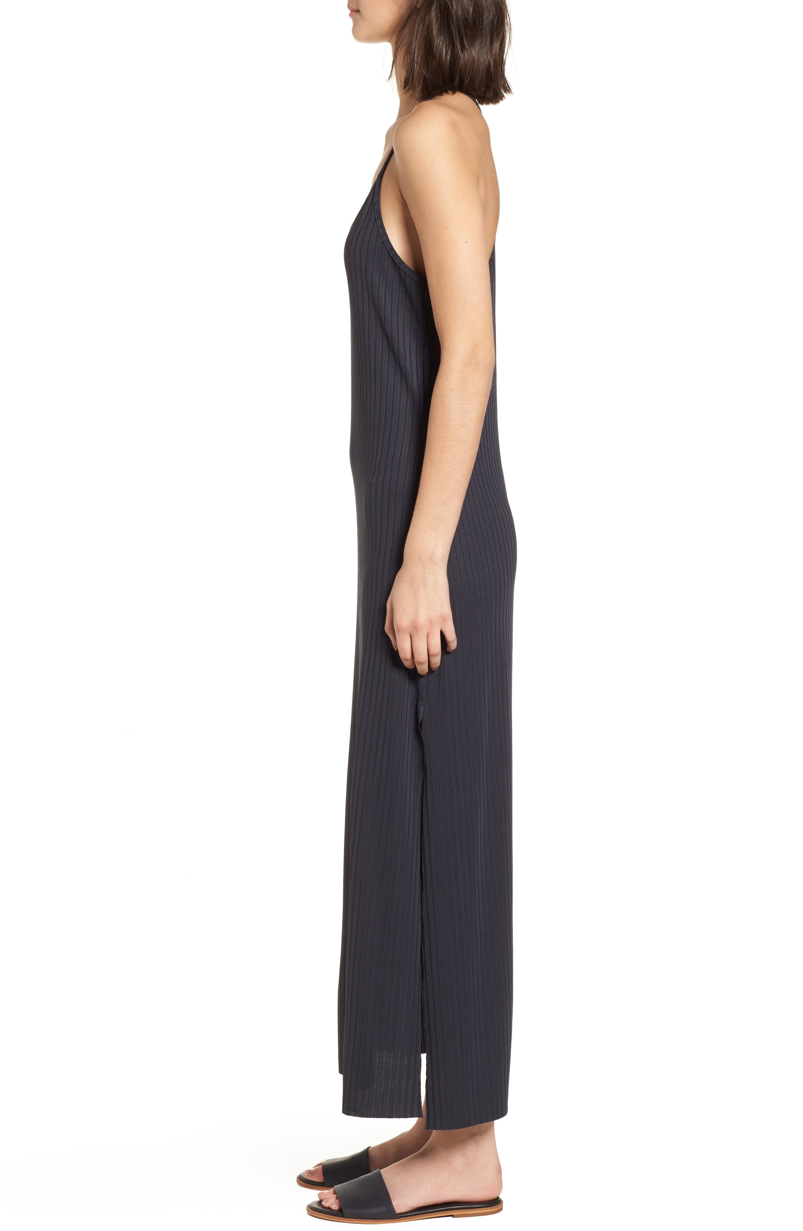 Ashlynn Ribbed Maxi Dress,                             Alternate thumbnail 3, color,                             NAVY