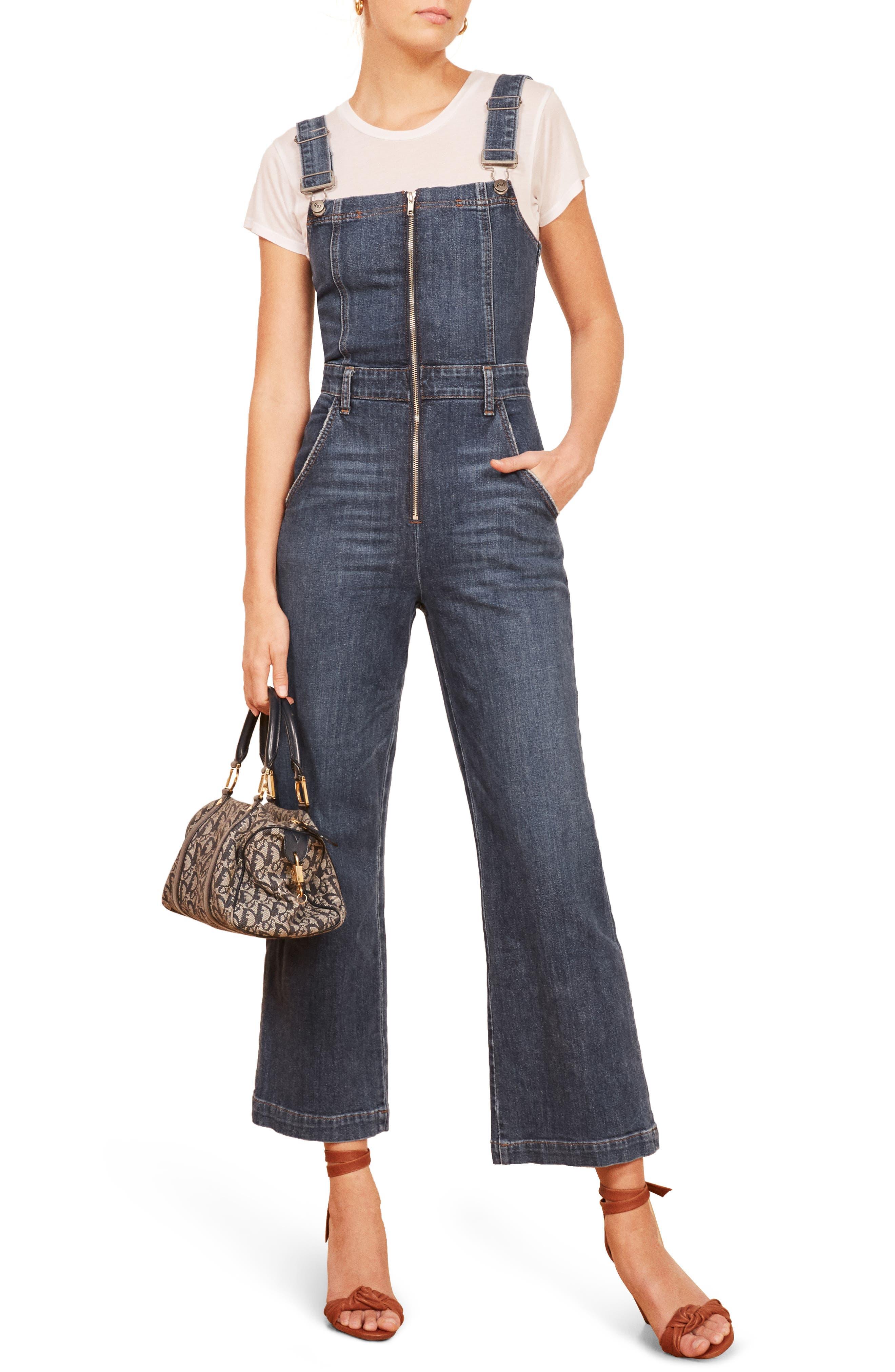 Jenny Zip Front Denim Jumpsuit, Main, color, 400