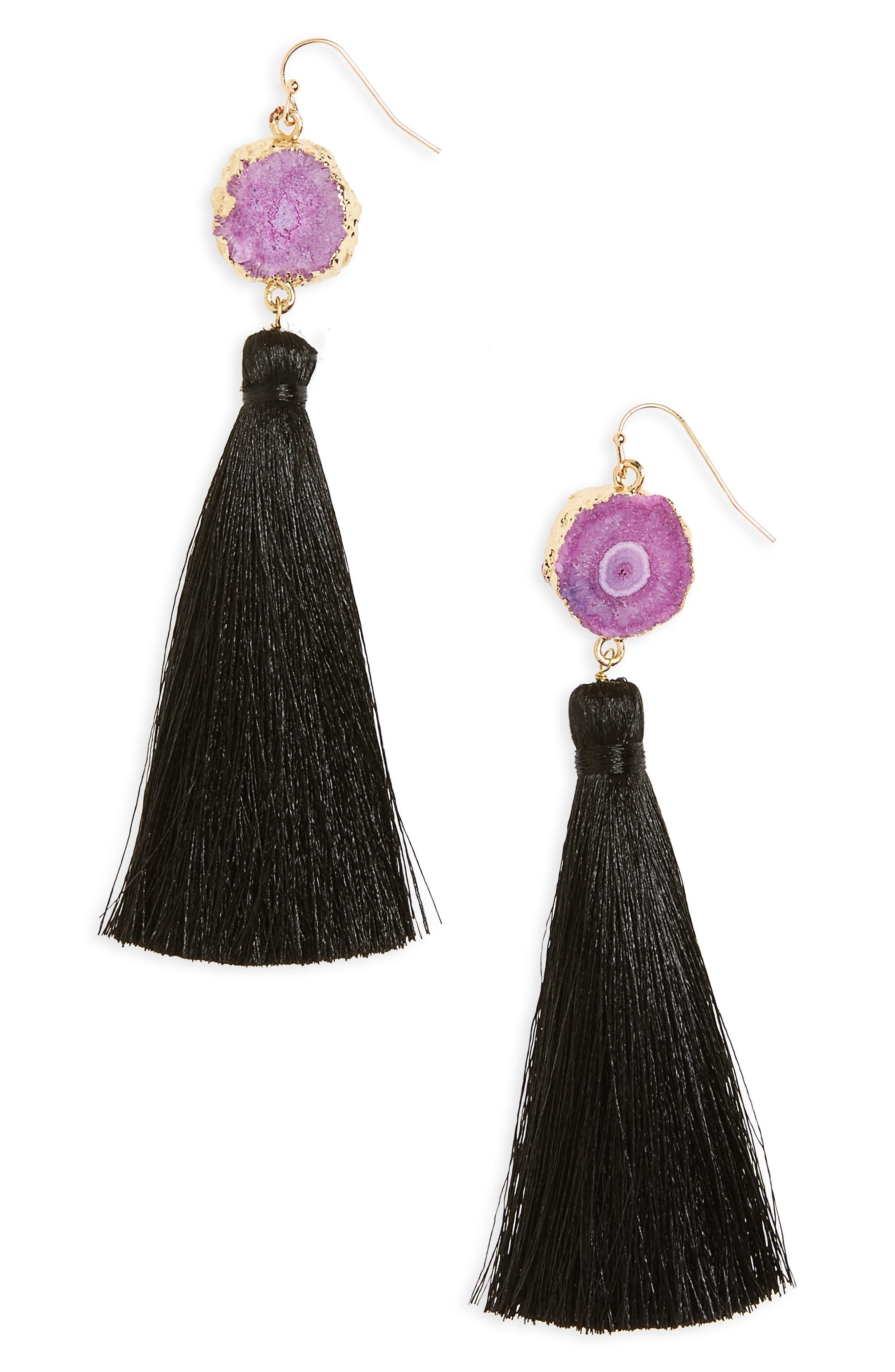 Drusy Tassel Drop Earrings,                         Main,                         color, 001
