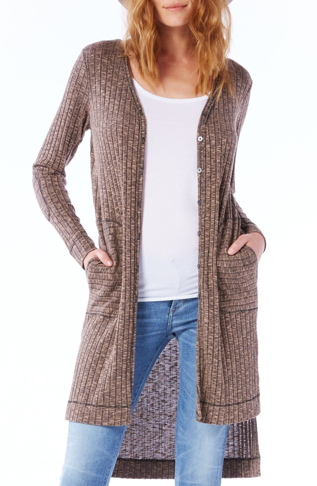 Elbow Patch Long High/Low Cardigan,                             Main thumbnail 3, color,