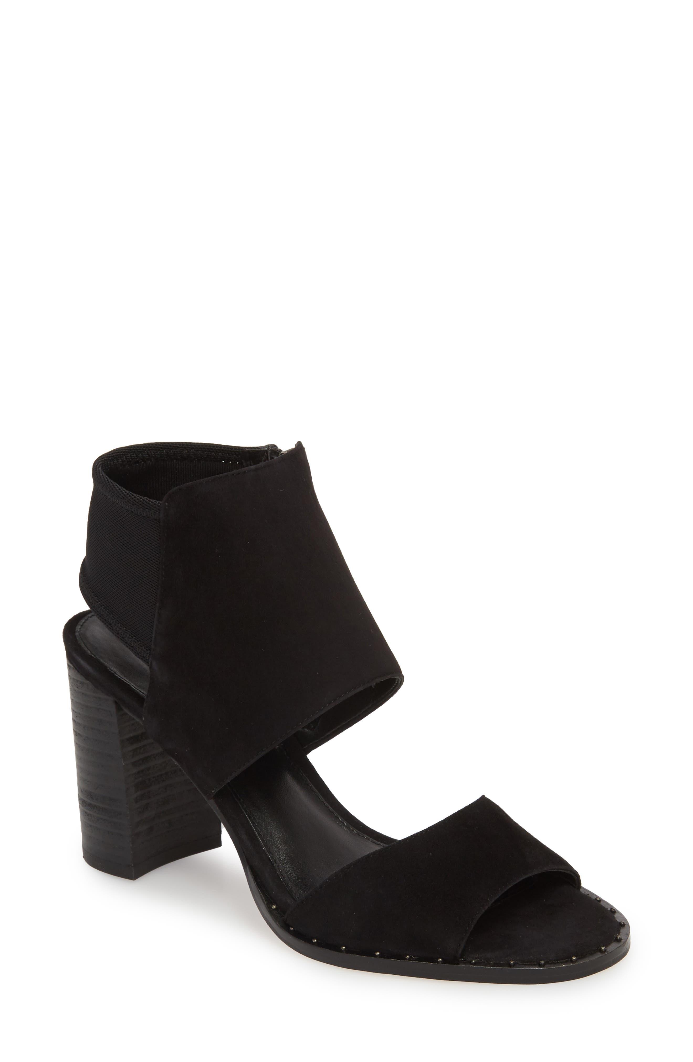 Grey Sandal,                             Main thumbnail 1, color,                             BLACK SUEDE