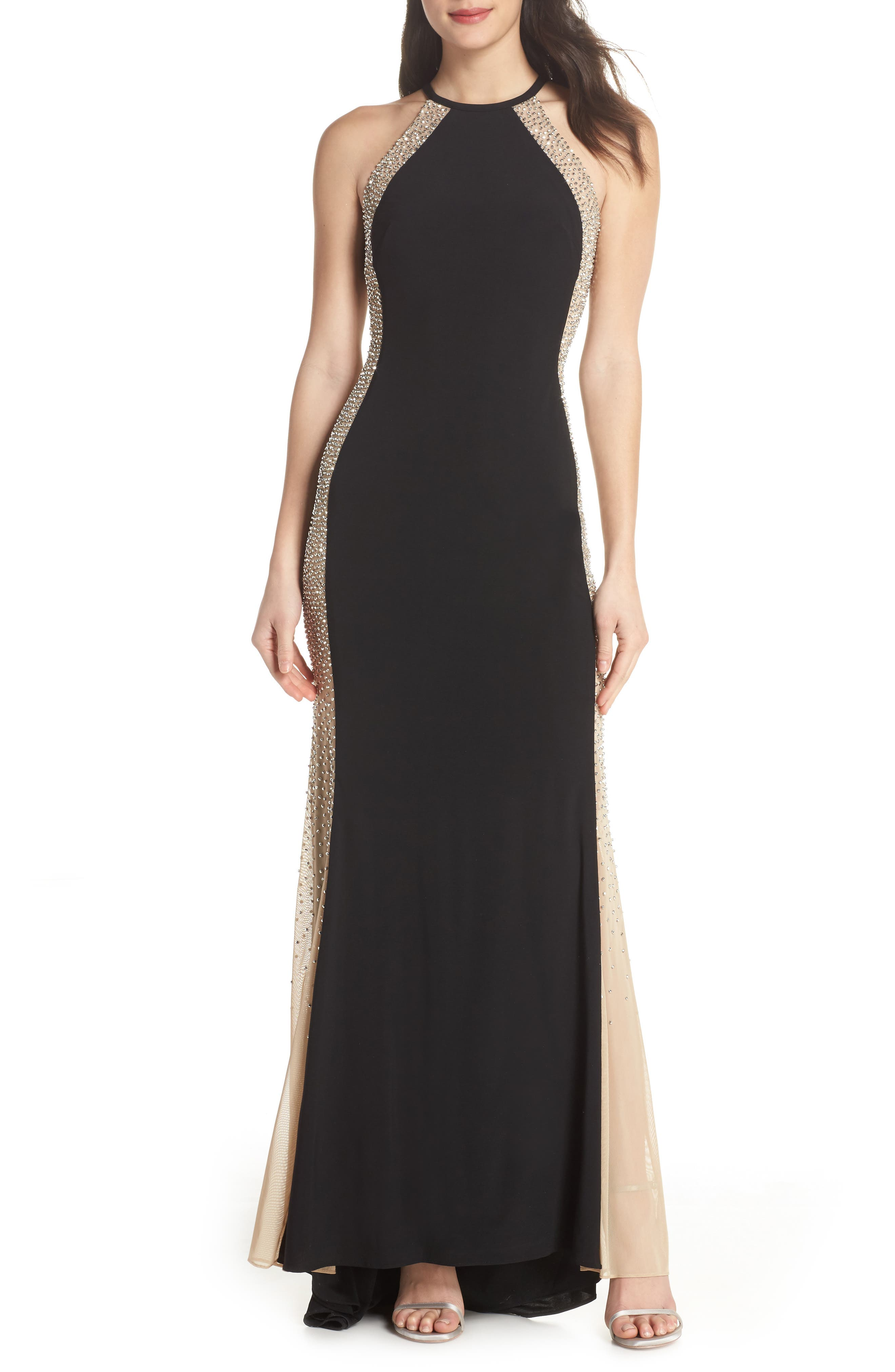 XSCAPE Beaded Sides Halter Gown, Main, color, 001