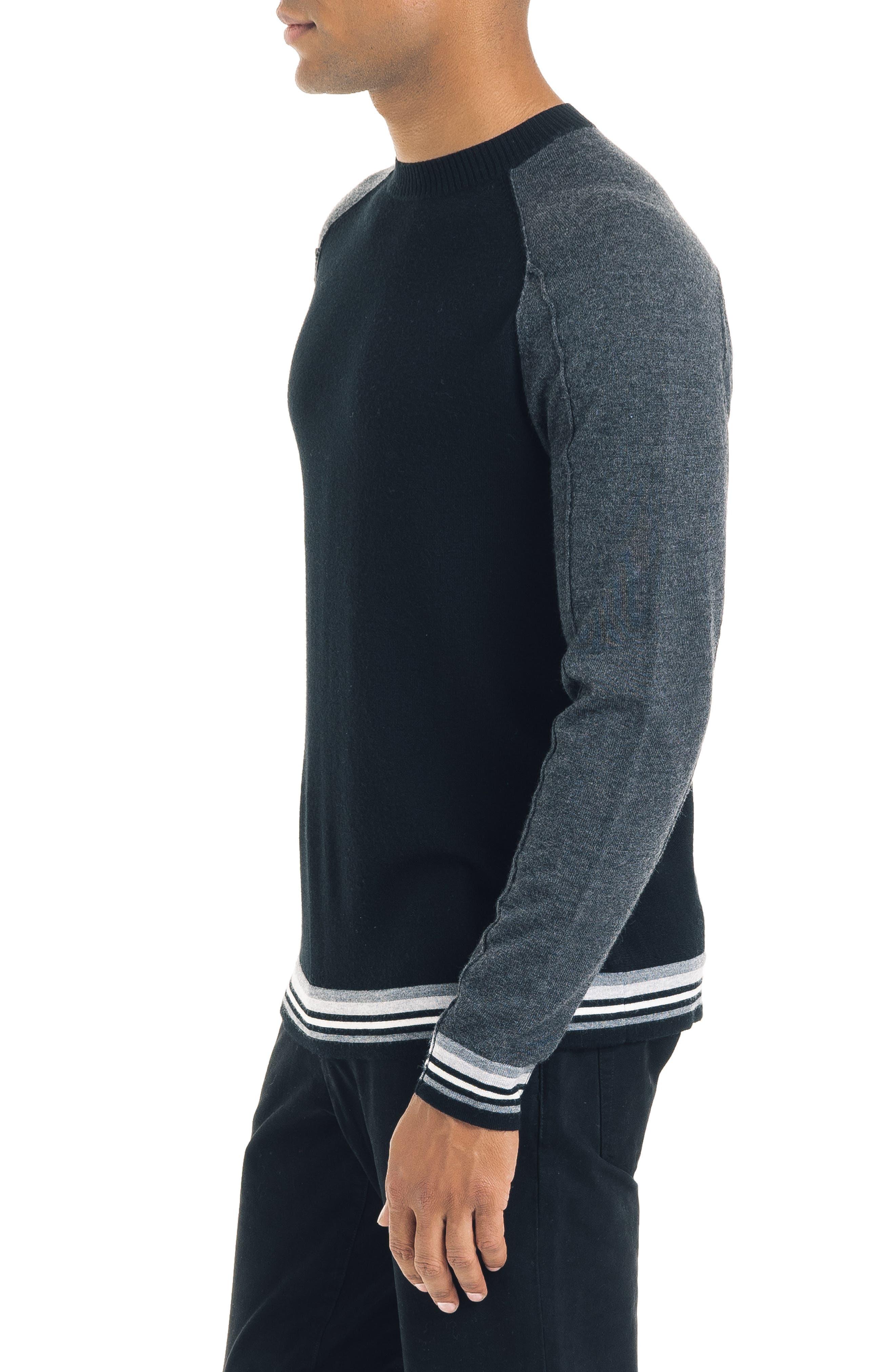 Mix Modern Slim Fit Wool Sweater,                             Alternate thumbnail 3, color,                             BLACK