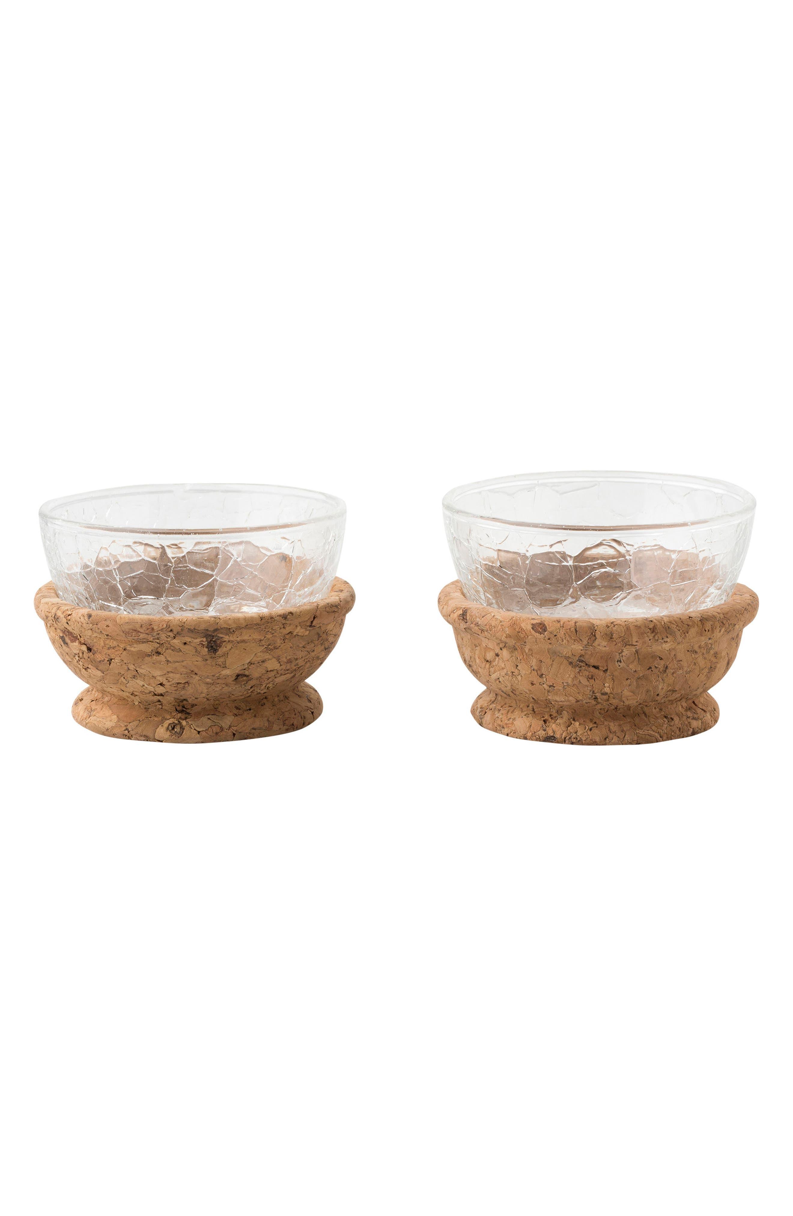 Qunita Hugo Set of 2 Pinch Bowls,                         Main,                         color, NATURAL CORK/ GLASS