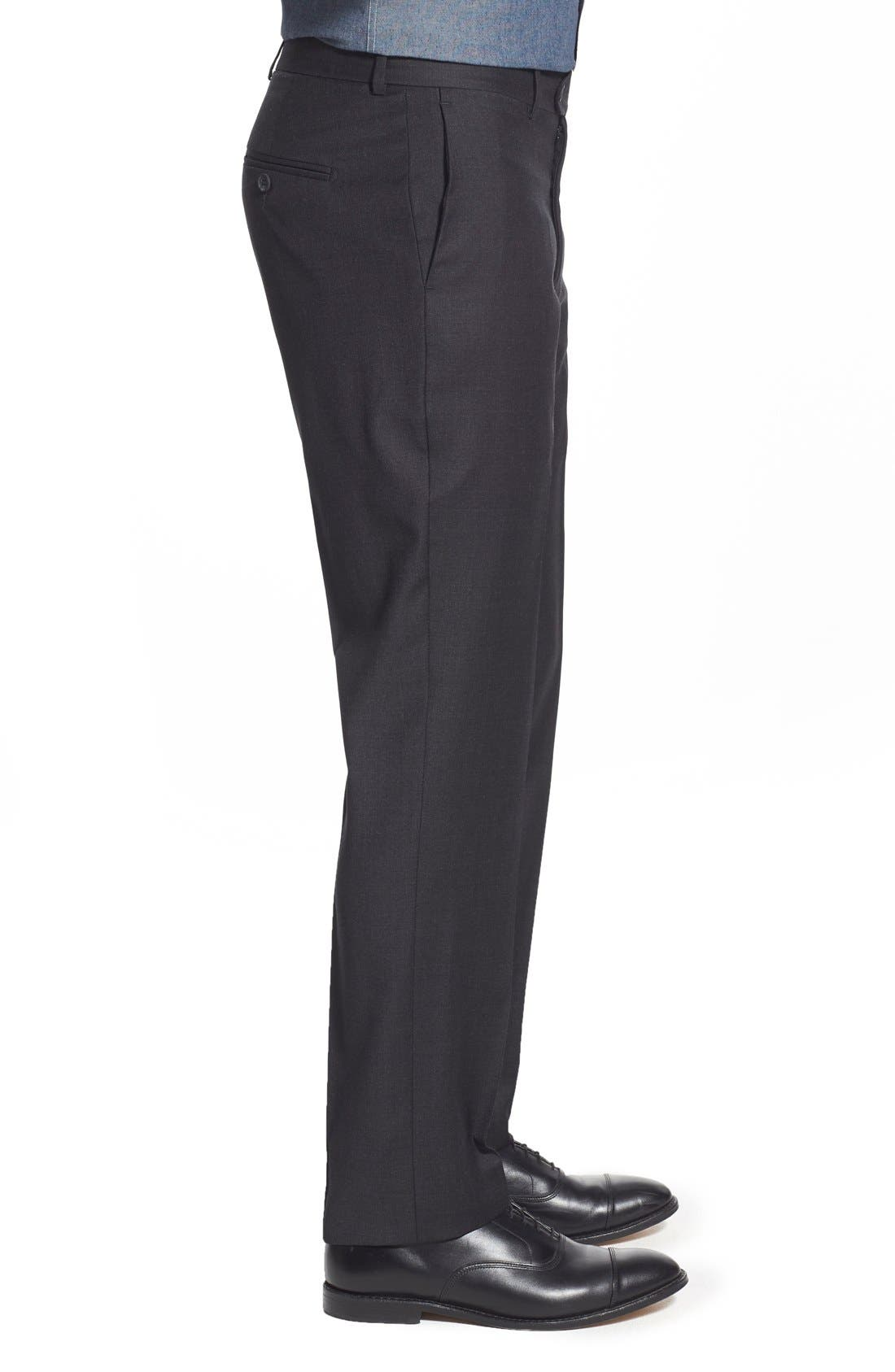 'Dagger' Flat Front Solid Wool Trousers,                             Alternate thumbnail 4, color,                             020