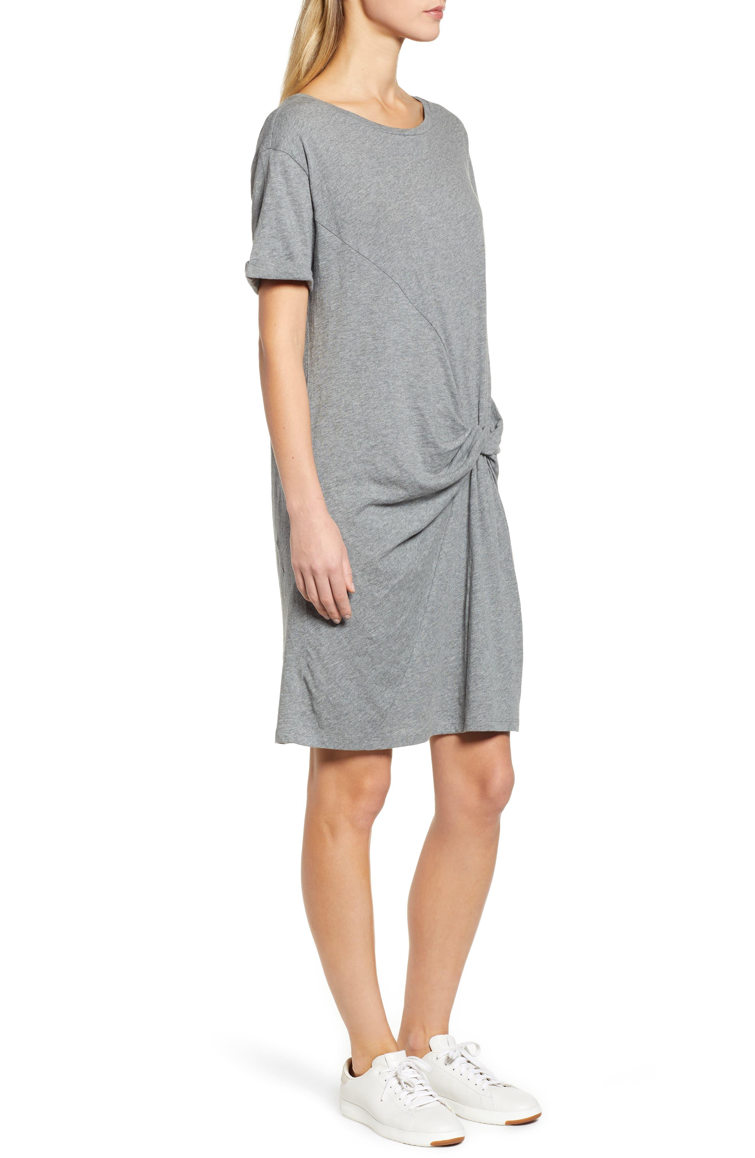 Knot Front T-Shirt Dress,                             Alternate thumbnail 3, color,                             GREY DARK HEATHER