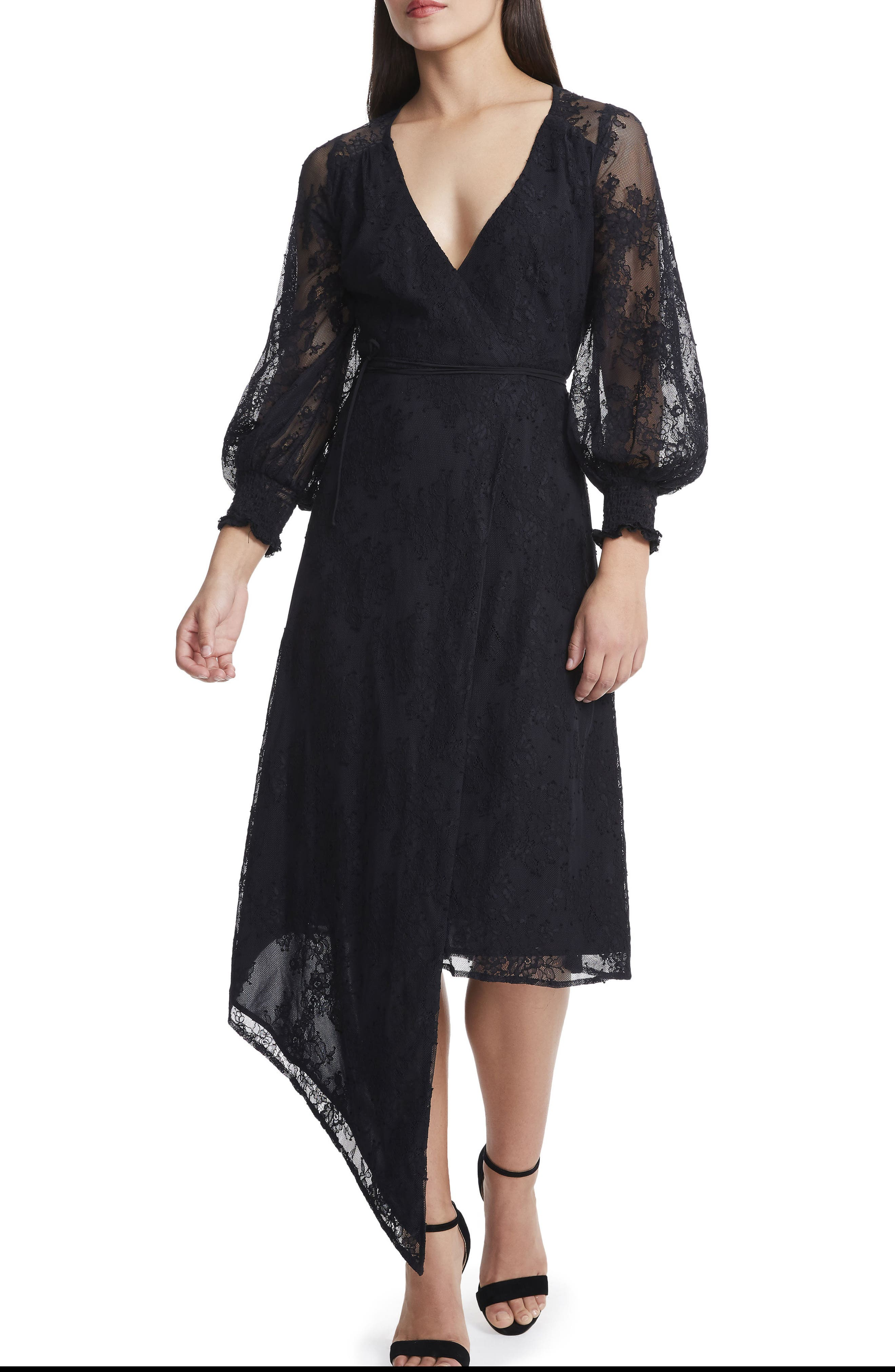 Amalfi Lantern Midi Wrap Dress,                         Main,                         color, 001