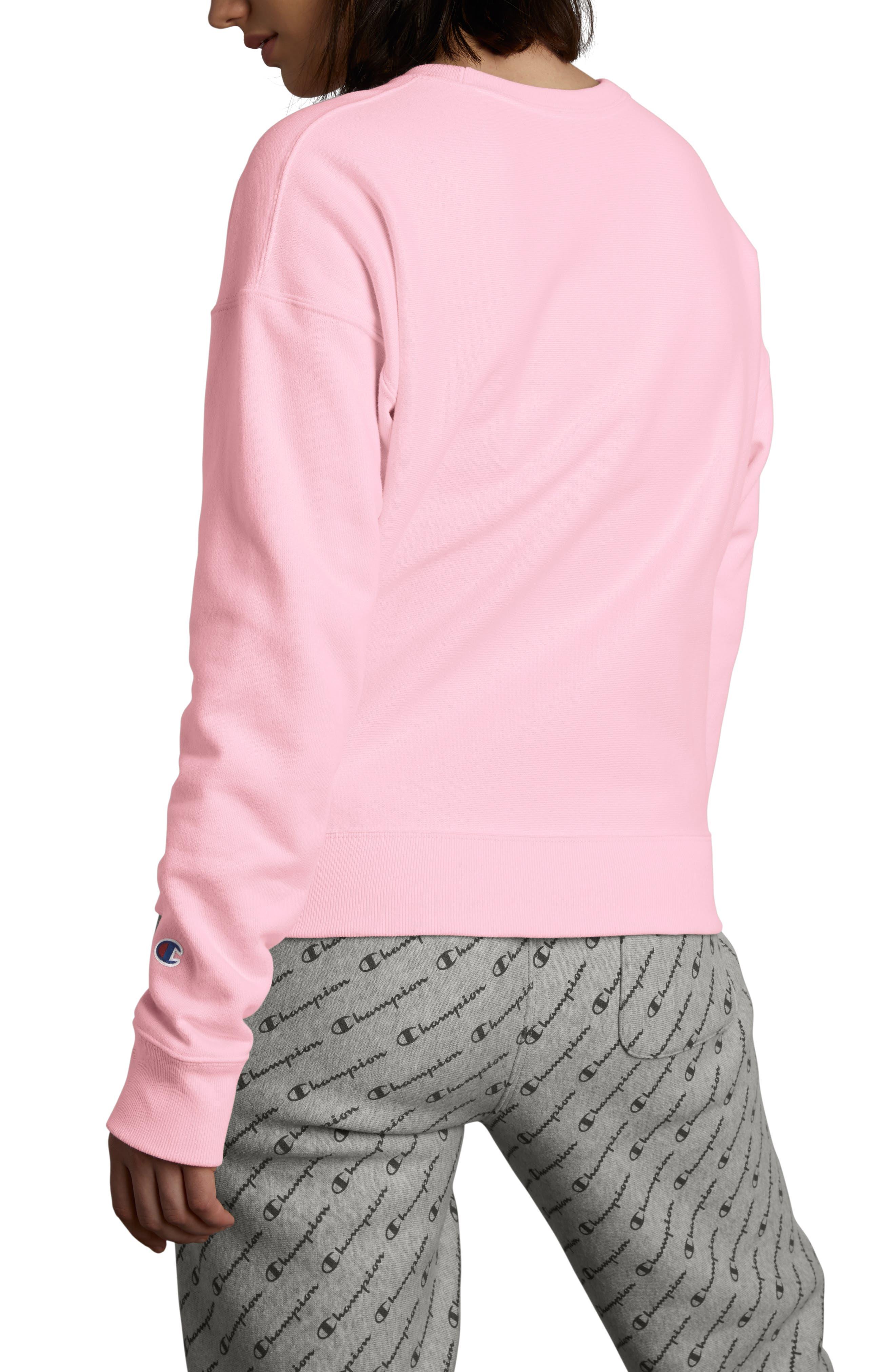 Reverse Weave Sweatshirt,                             Alternate thumbnail 2, color,                             PINK CANDY