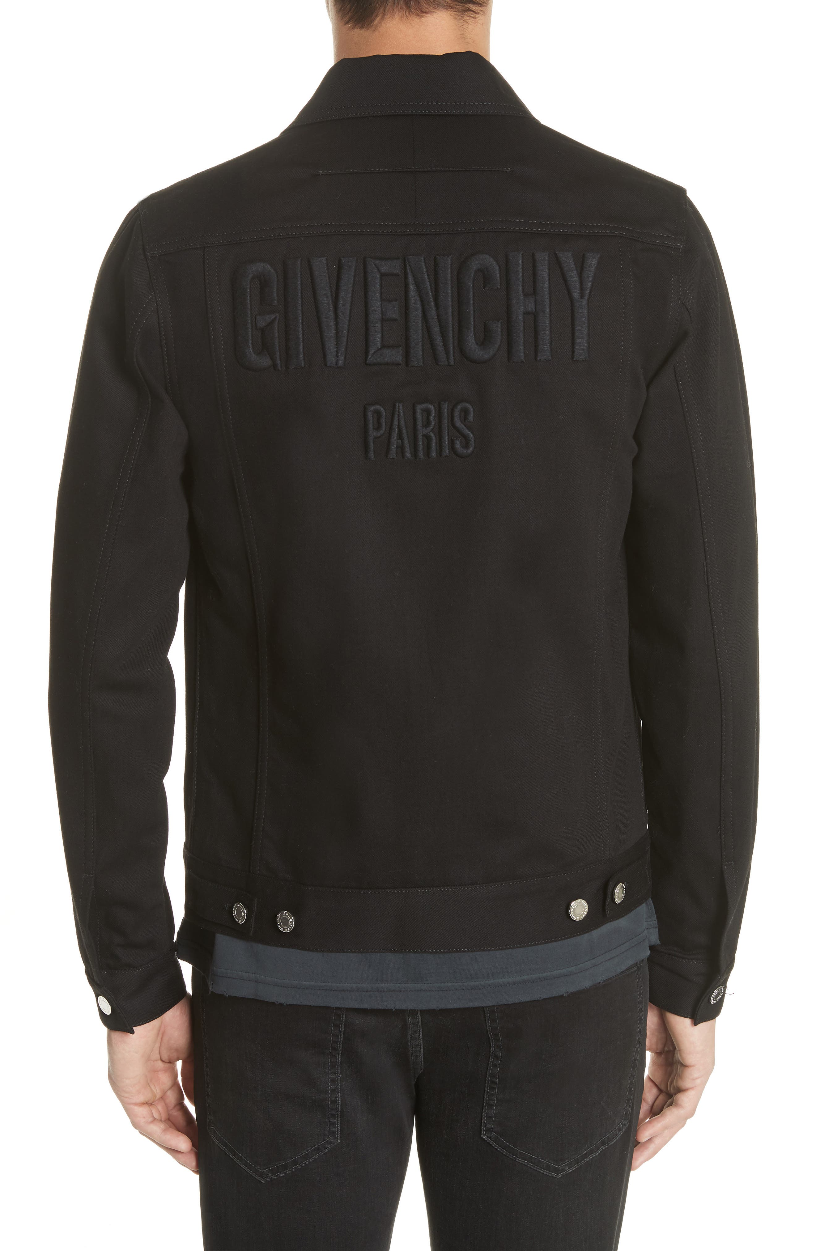 Denim Jacket with Logo Embroidery,                             Alternate thumbnail 2, color,                             001