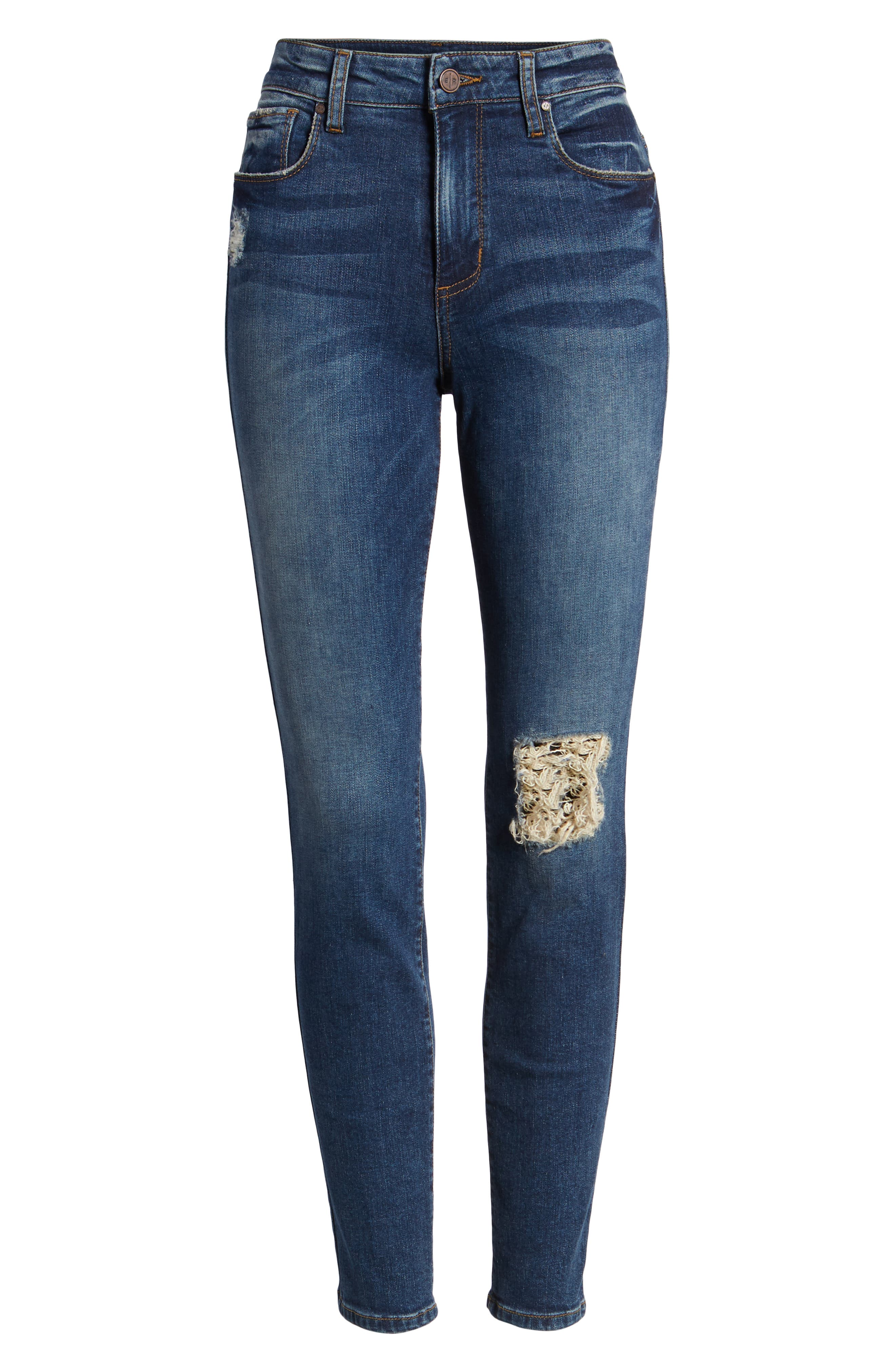 Ripped High Waist Skinny Jeans,                             Alternate thumbnail 7, color,                             000