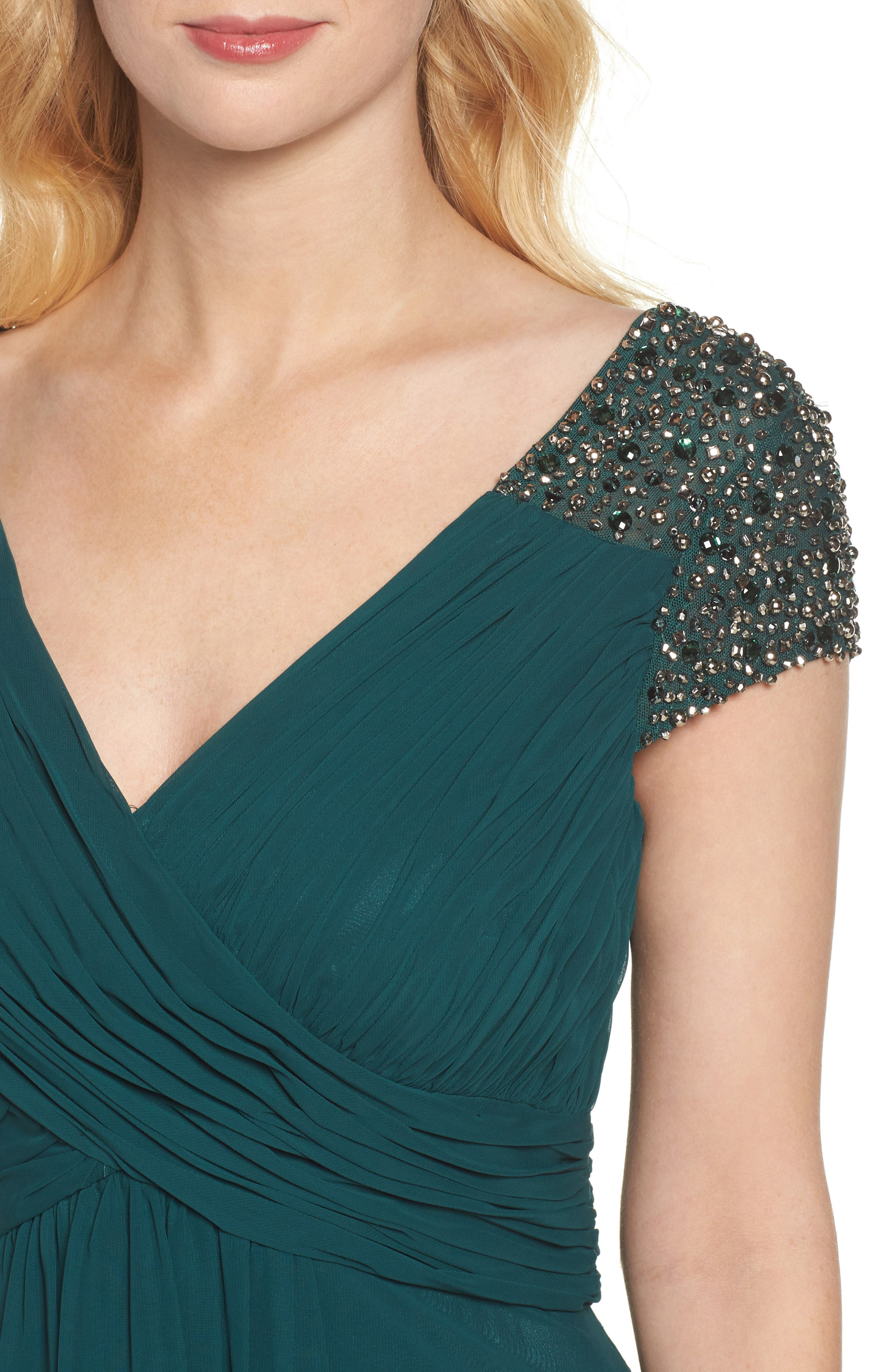 Embellished Pleated Chiffon Gown,                             Alternate thumbnail 11, color,