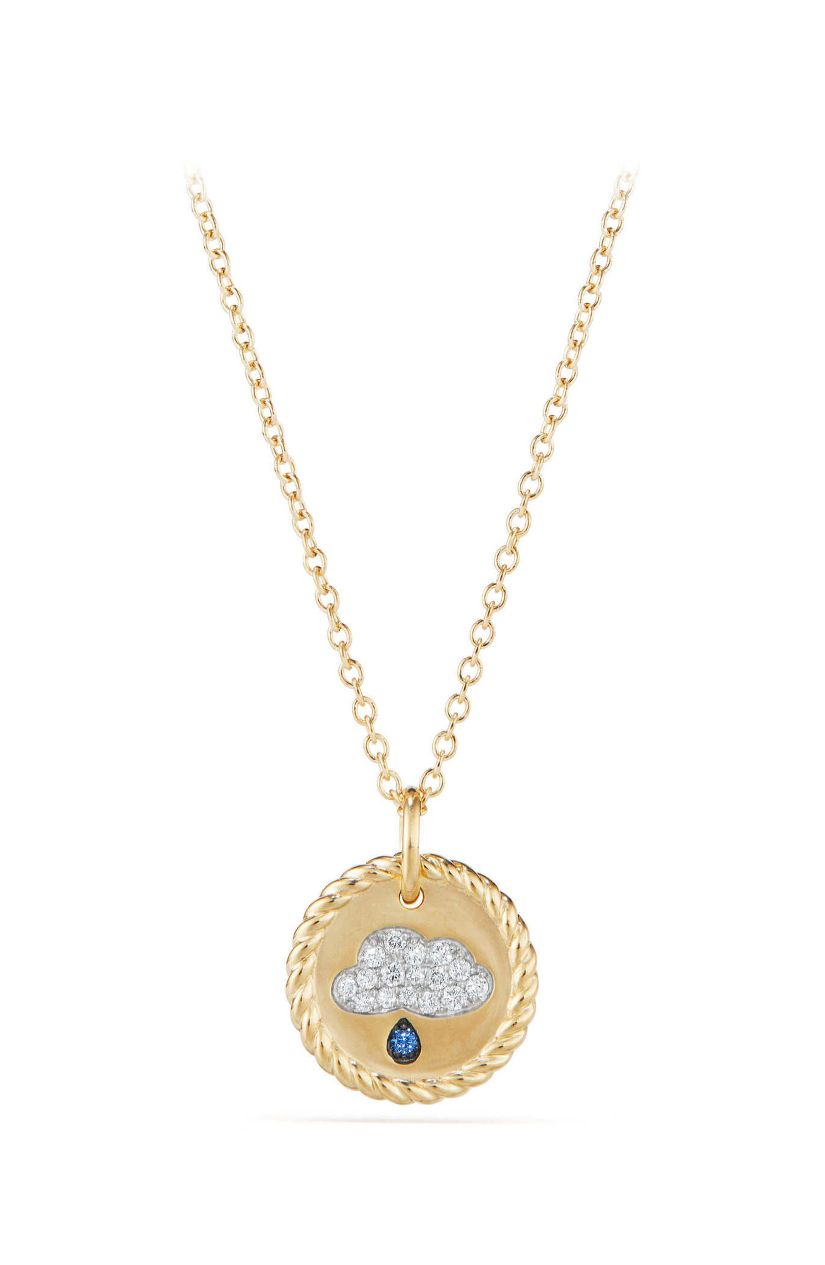 Cable Collectibles Raincloud Necklace with Diamonds & Light Blue Sapphires in 18K Gold,                         Main,                         color, GOLD/ DIAMOND/ BLUE SAPPHIRE