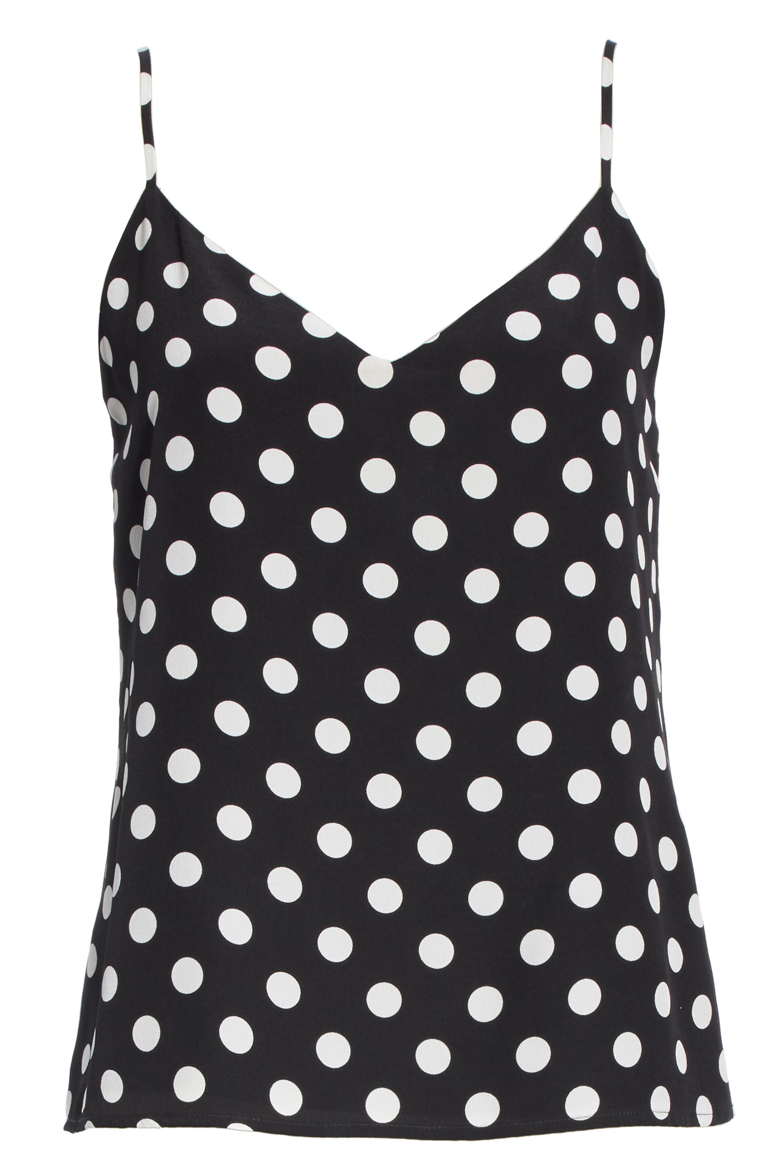 L'AGENCE,                             Jane Polka Dot Camisole,                             Alternate thumbnail 6, color,                             BLACK/ IVORY