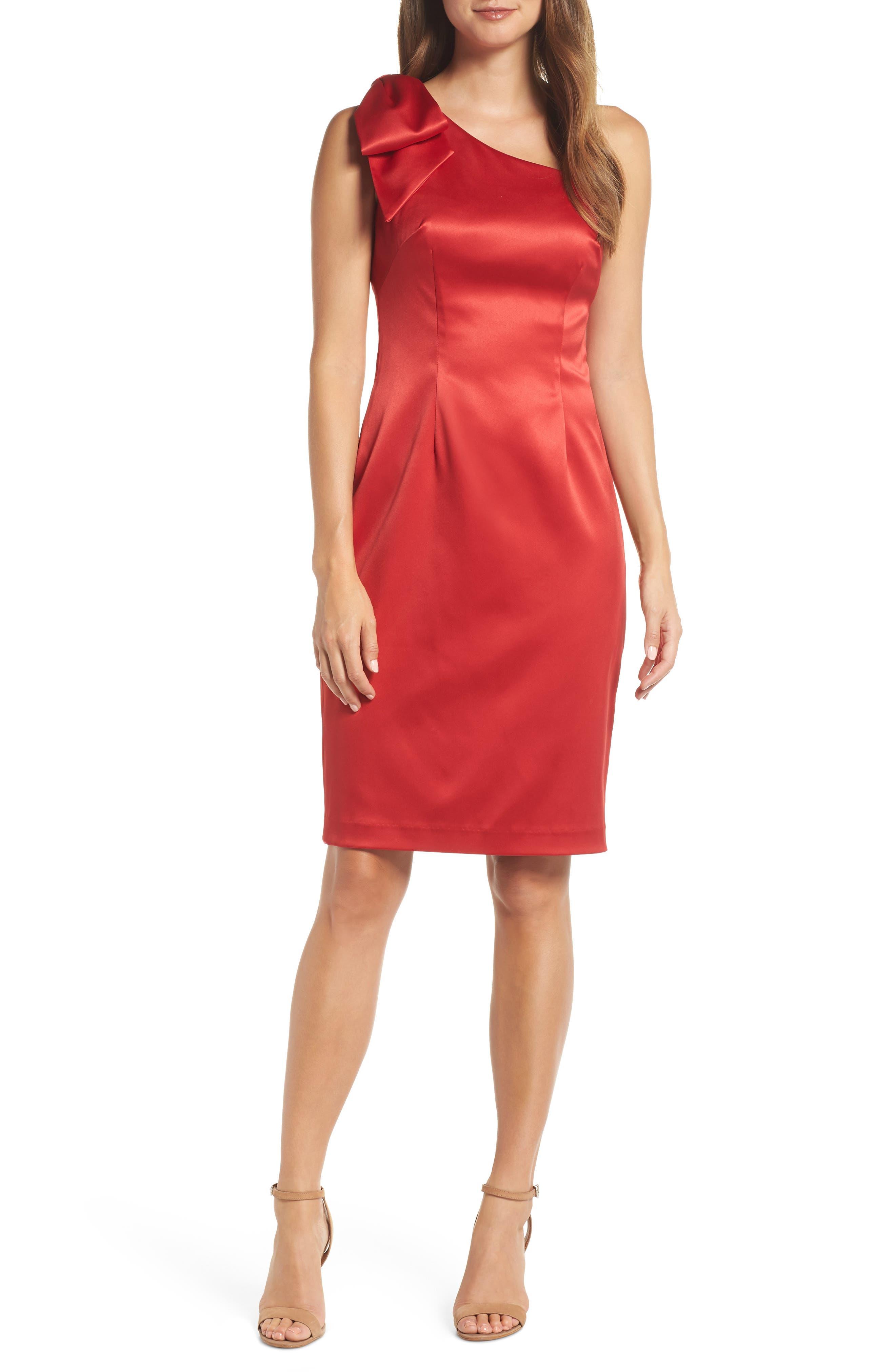 Eliza J One-Shoulder Bow Detail Satin Sheath Dress, Red