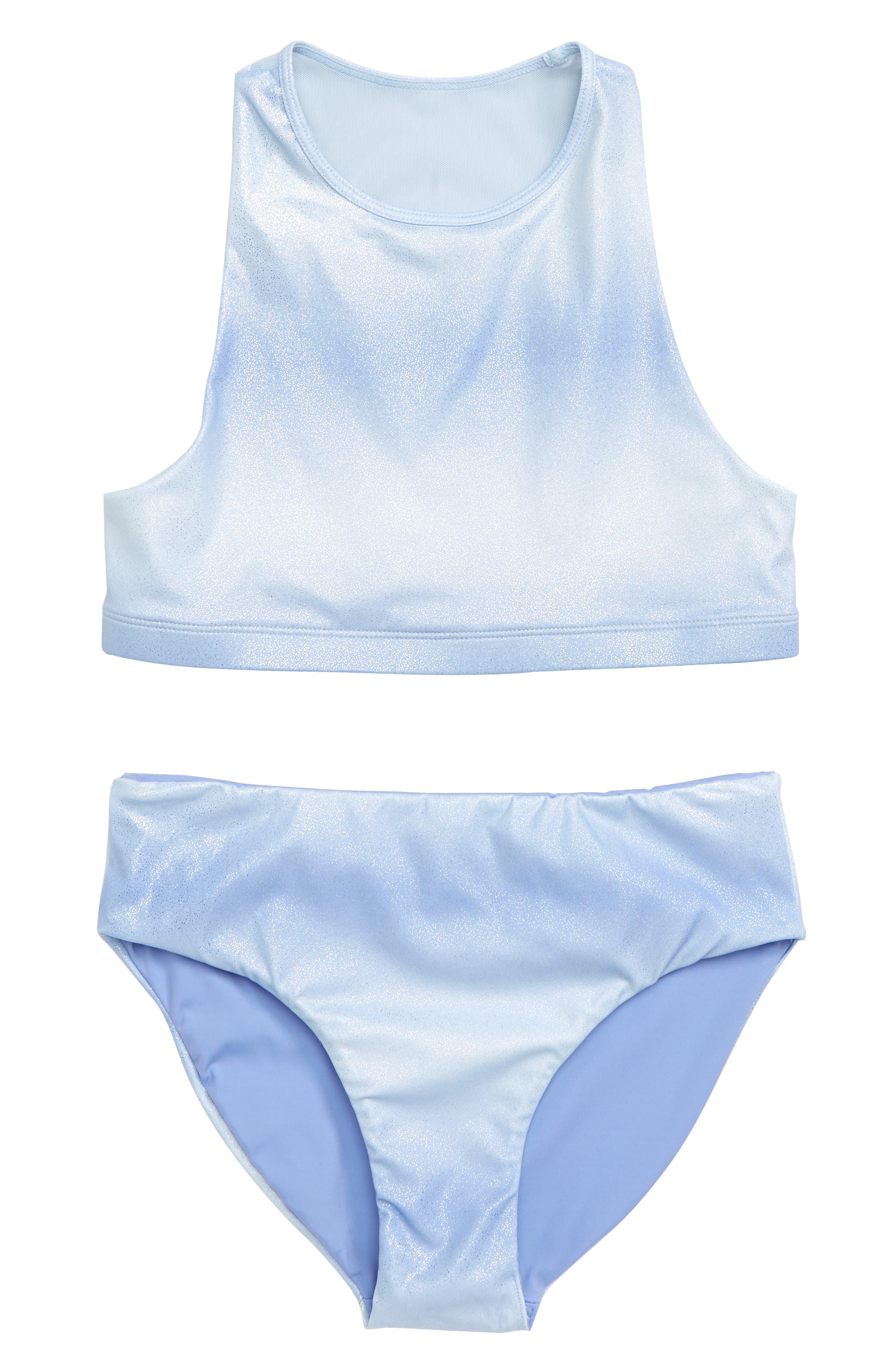 Two-Piece Racerback Swimsuit,                             Main thumbnail 1, color,                             BLUE HAZE OMBRE