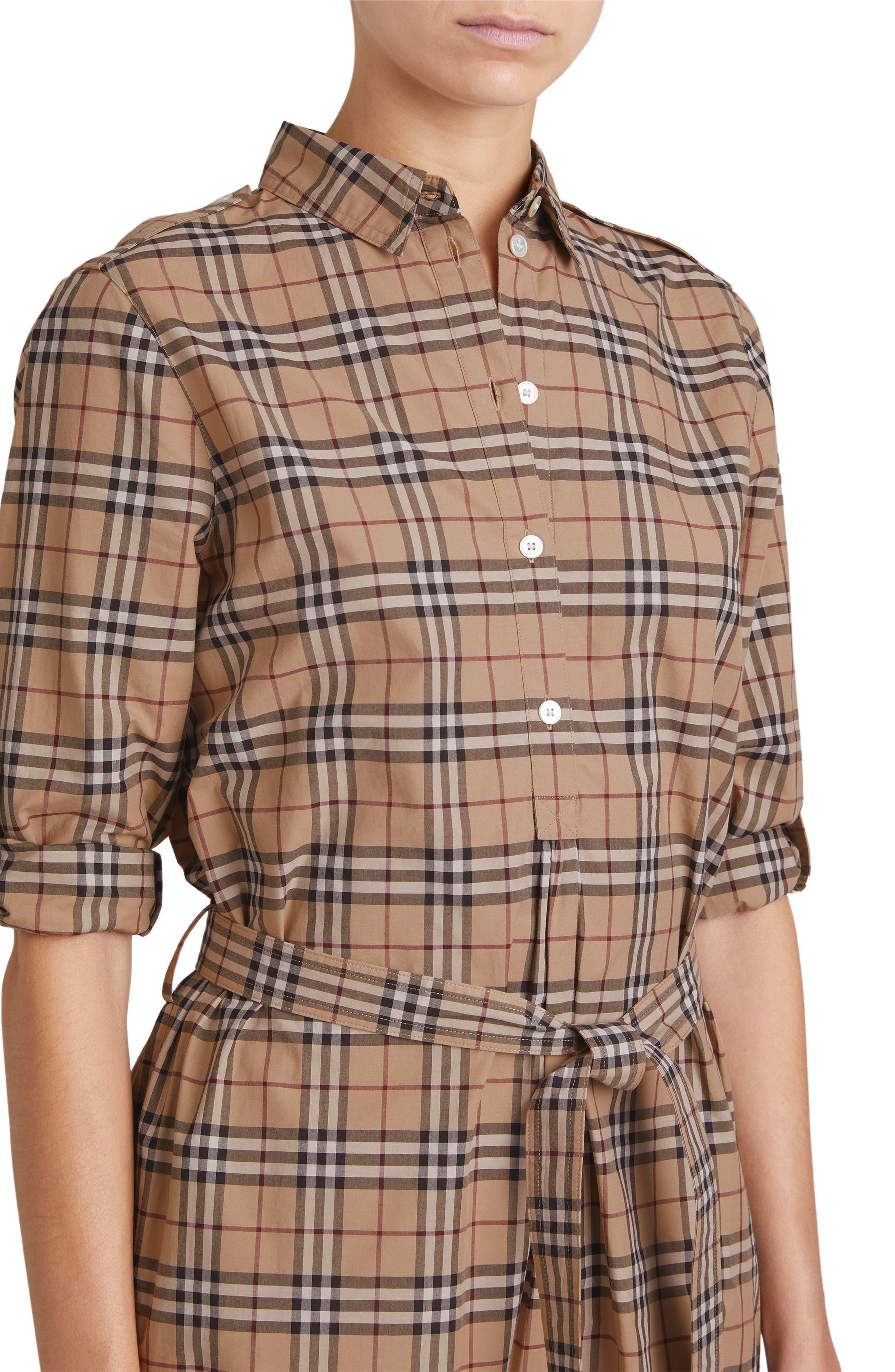 Kelsy Cotton Check Shirtdress,                             Alternate thumbnail 4, color,                             CAMEL