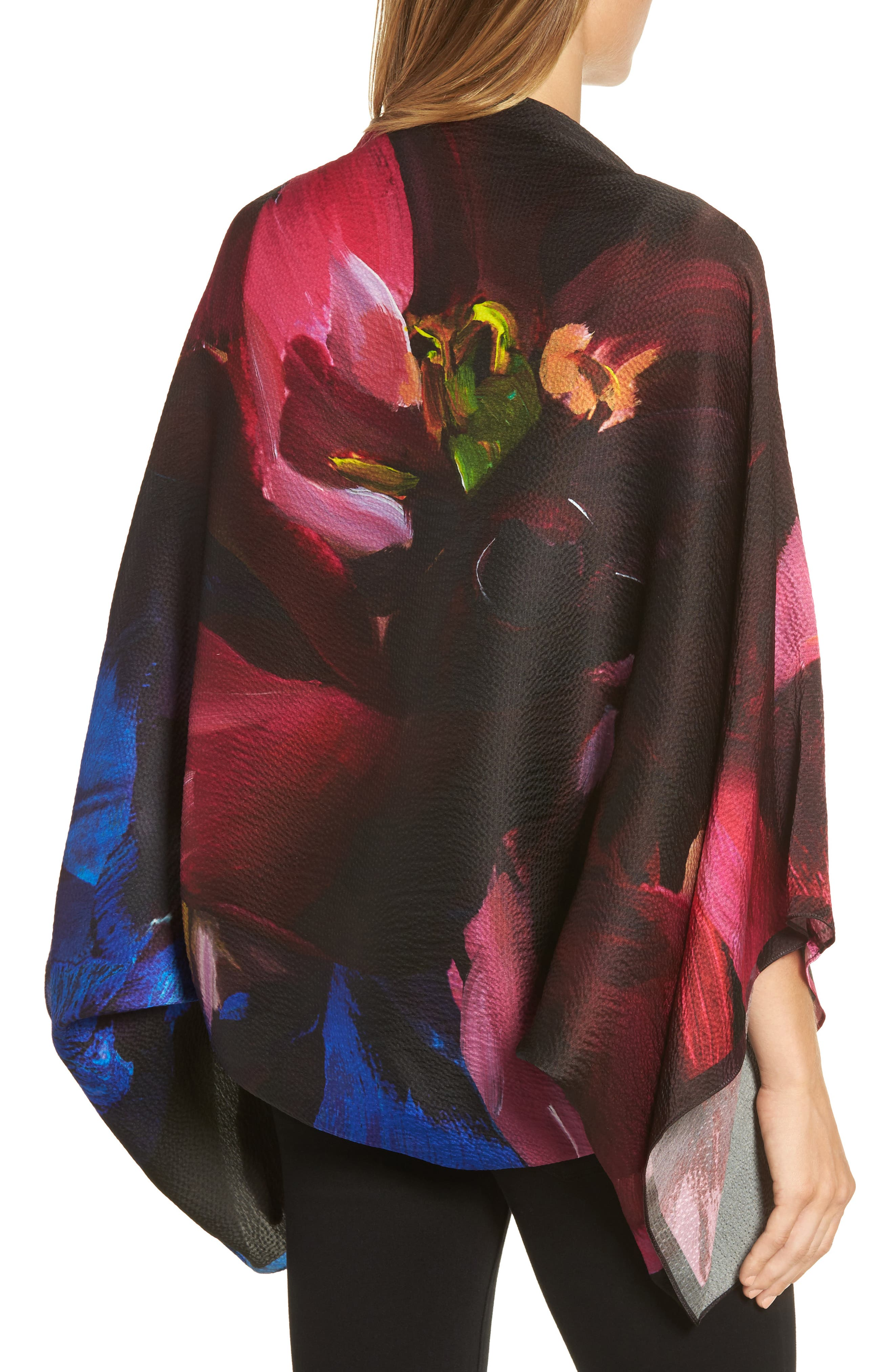 Impressionist Bloom Silk Cape Scarf,                             Alternate thumbnail 2, color,                             001