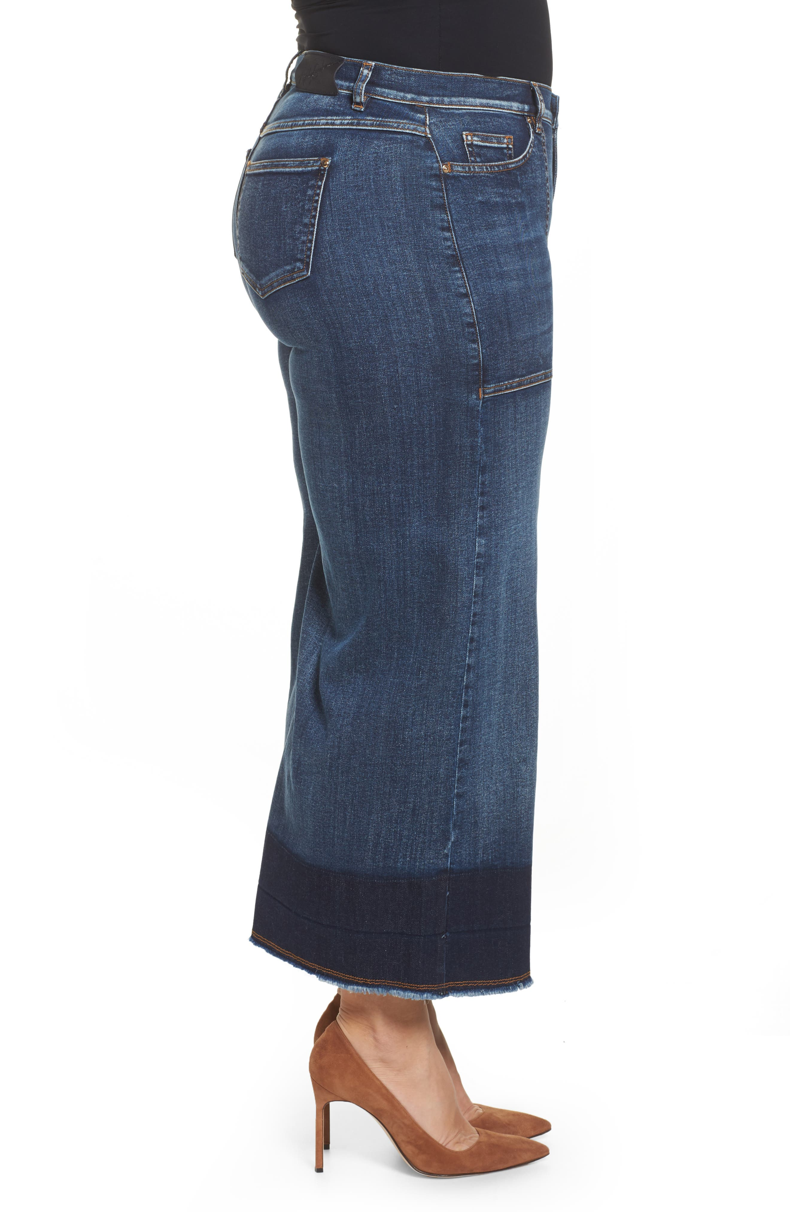 Idioma Super Stretch Wide Leg Jeans,                             Alternate thumbnail 3, color,                             454
