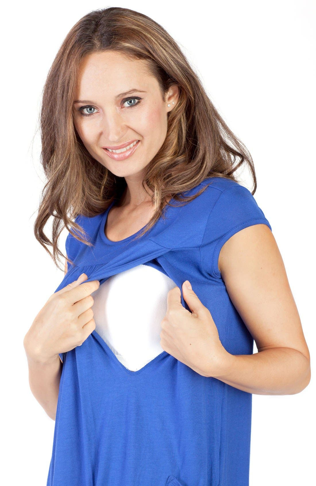 'The Babydoll' Maternity Nursing Top,                             Alternate thumbnail 5, color,                             BLUE