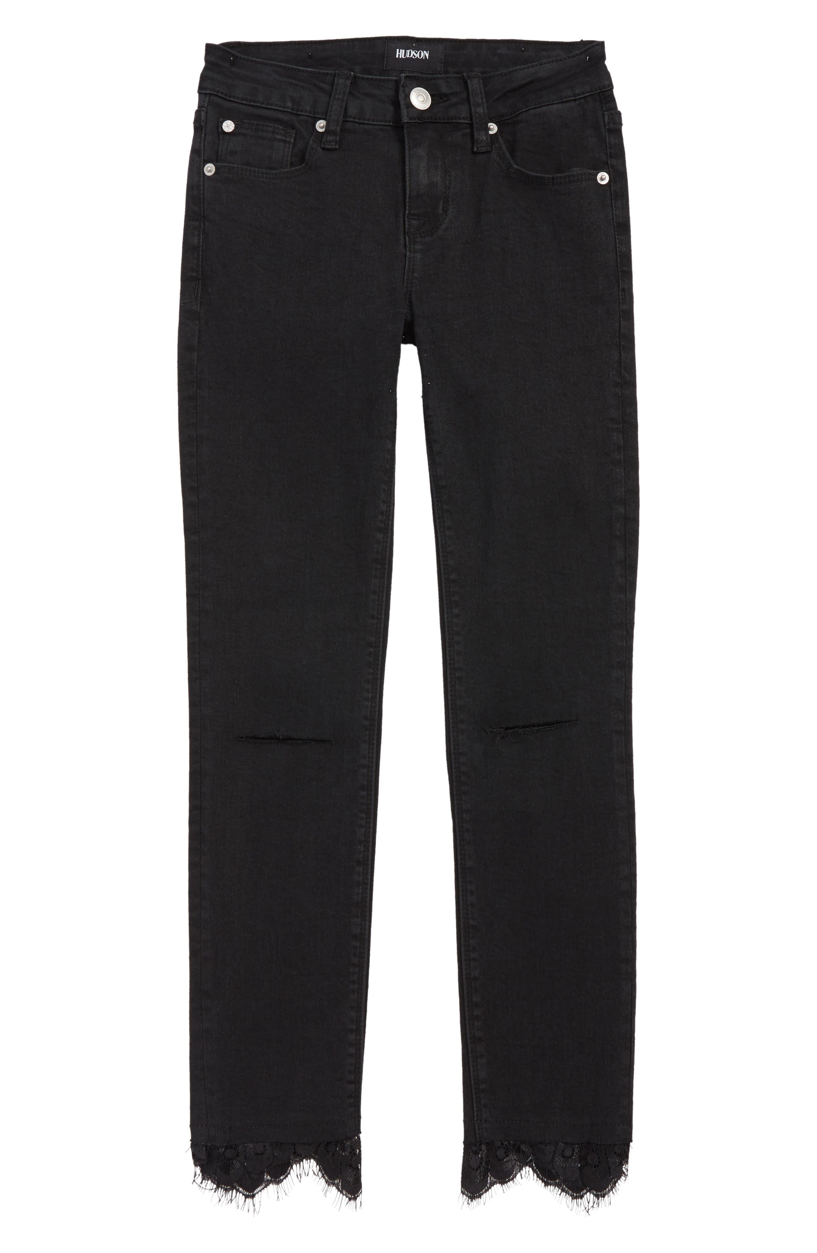 Lacy Crop Jeans,                             Main thumbnail 1, color,                             JET-JET BLACK