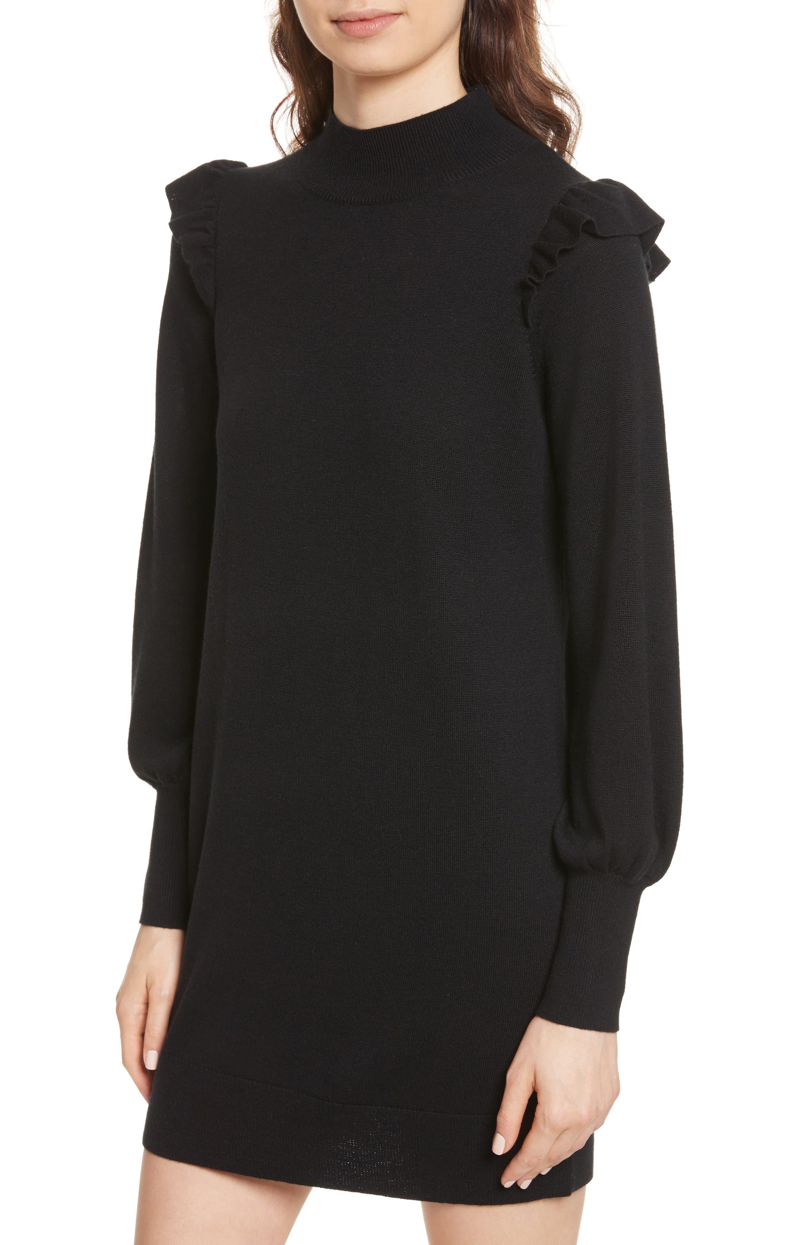 Catriona Wool & Silk Sweater Dress,                             Alternate thumbnail 4, color,                             002