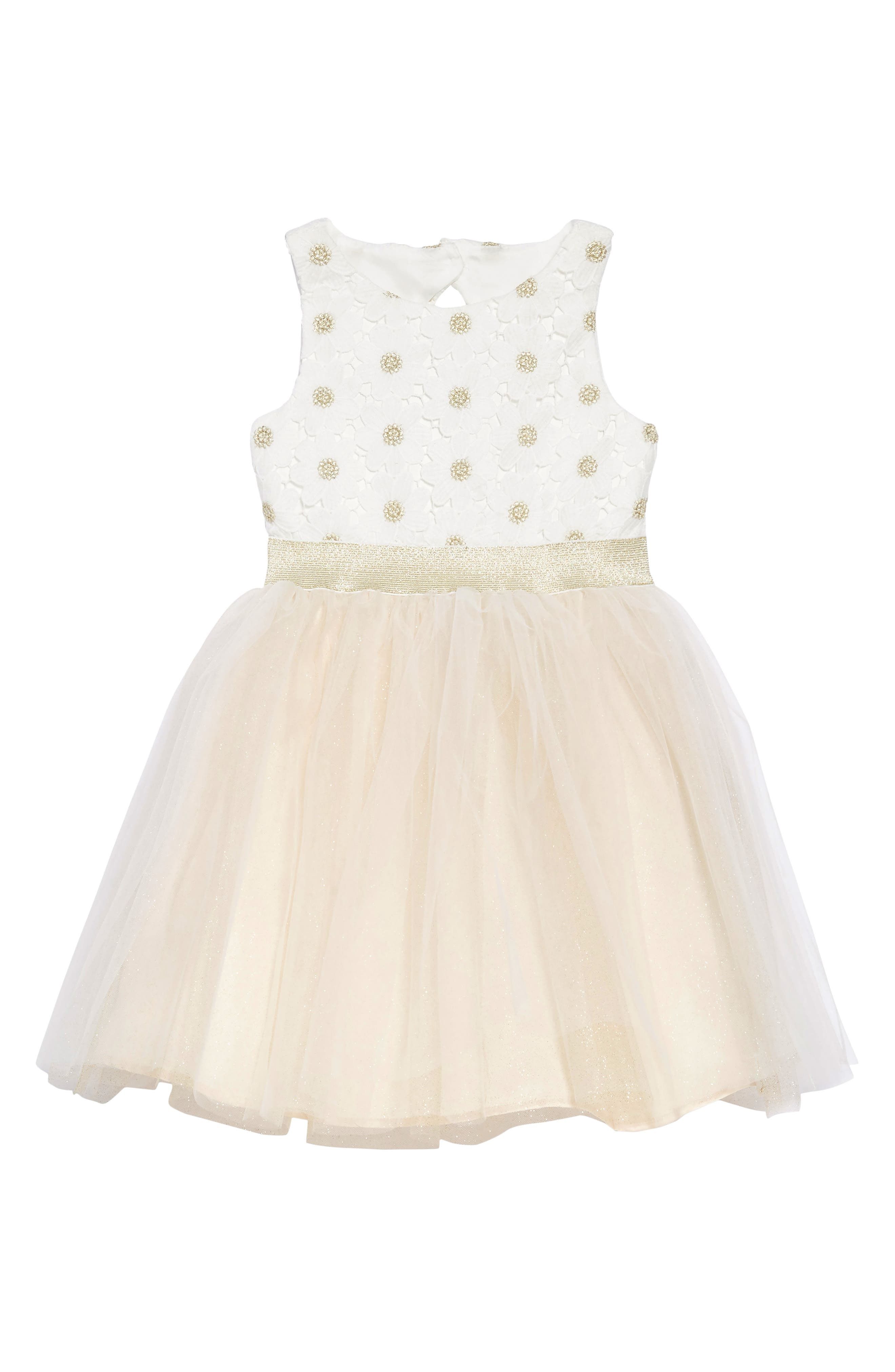 Daisy Fit & Flare Dress,                             Main thumbnail 1, color,                             IVORY/ CHAMPAGNE
