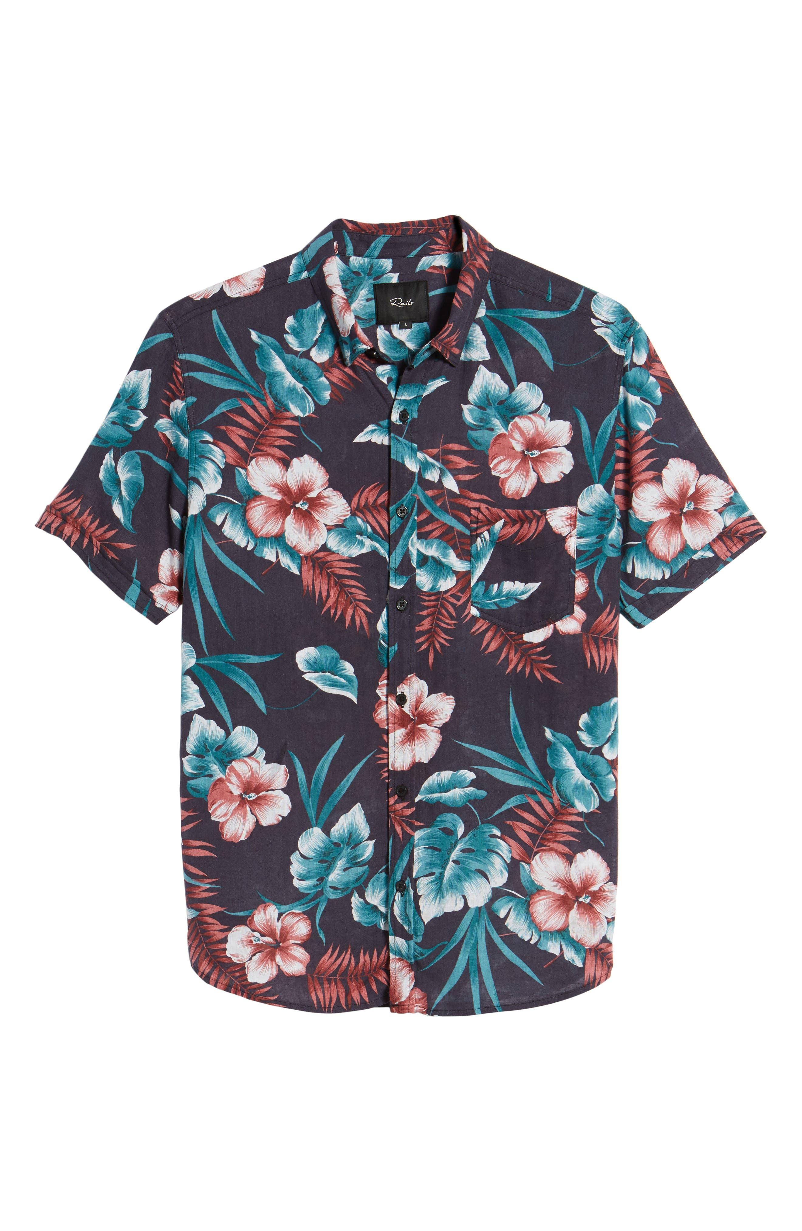 Carson Slim Fit Tropical Print Sport Shirt,                             Alternate thumbnail 6, color,                             001