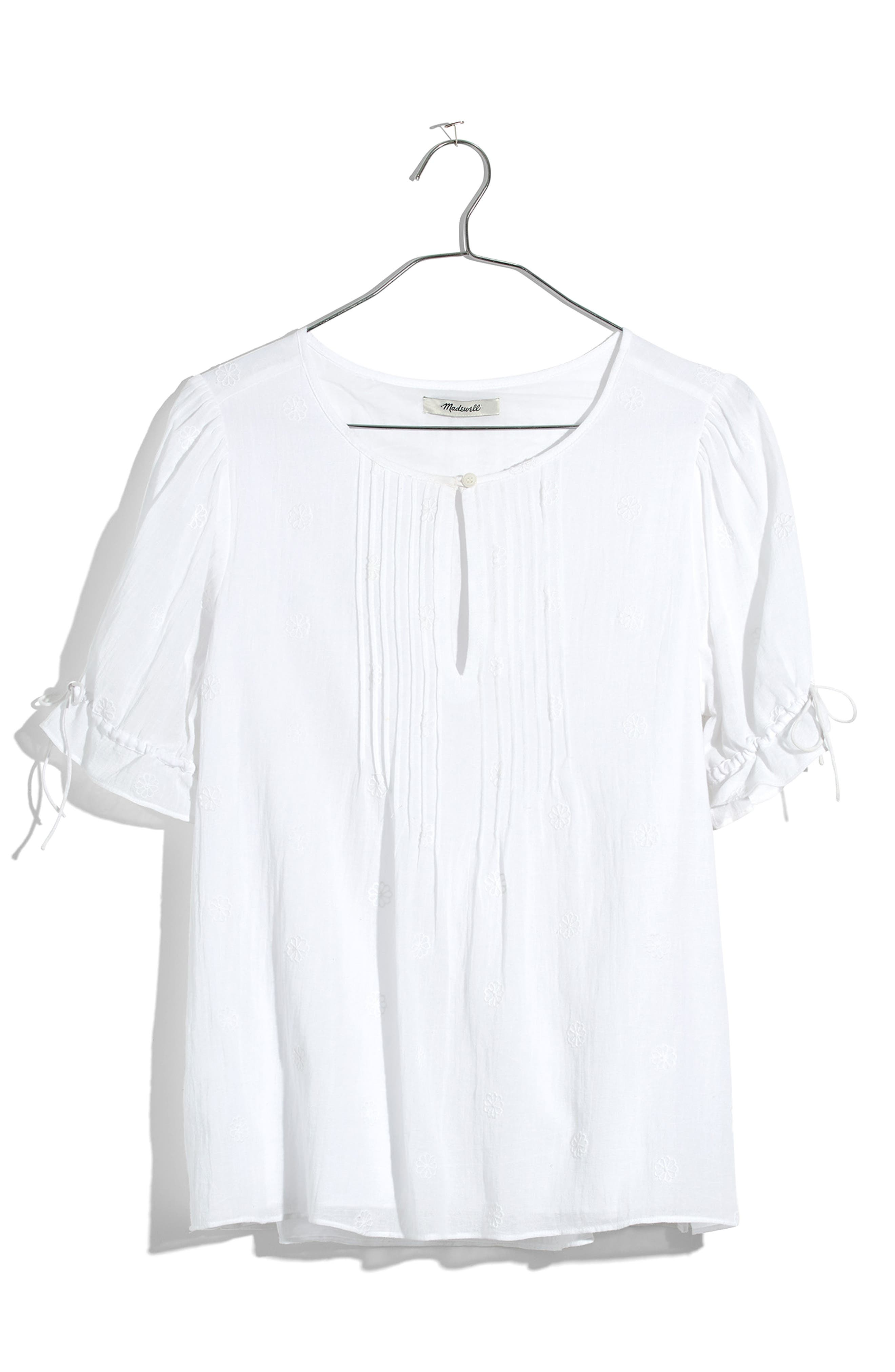 Embroidered Pintuck Top,                             Alternate thumbnail 3, color,                             100