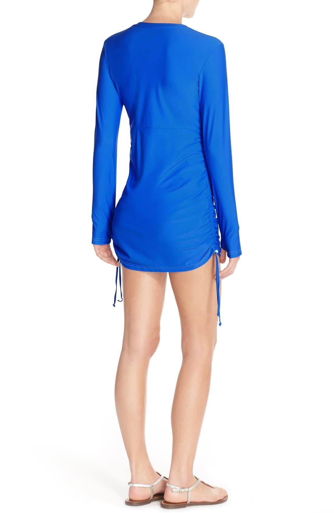 'Sonja' Long Sleeve Half Zip Convertible Swimdress,                             Alternate thumbnail 26, color,