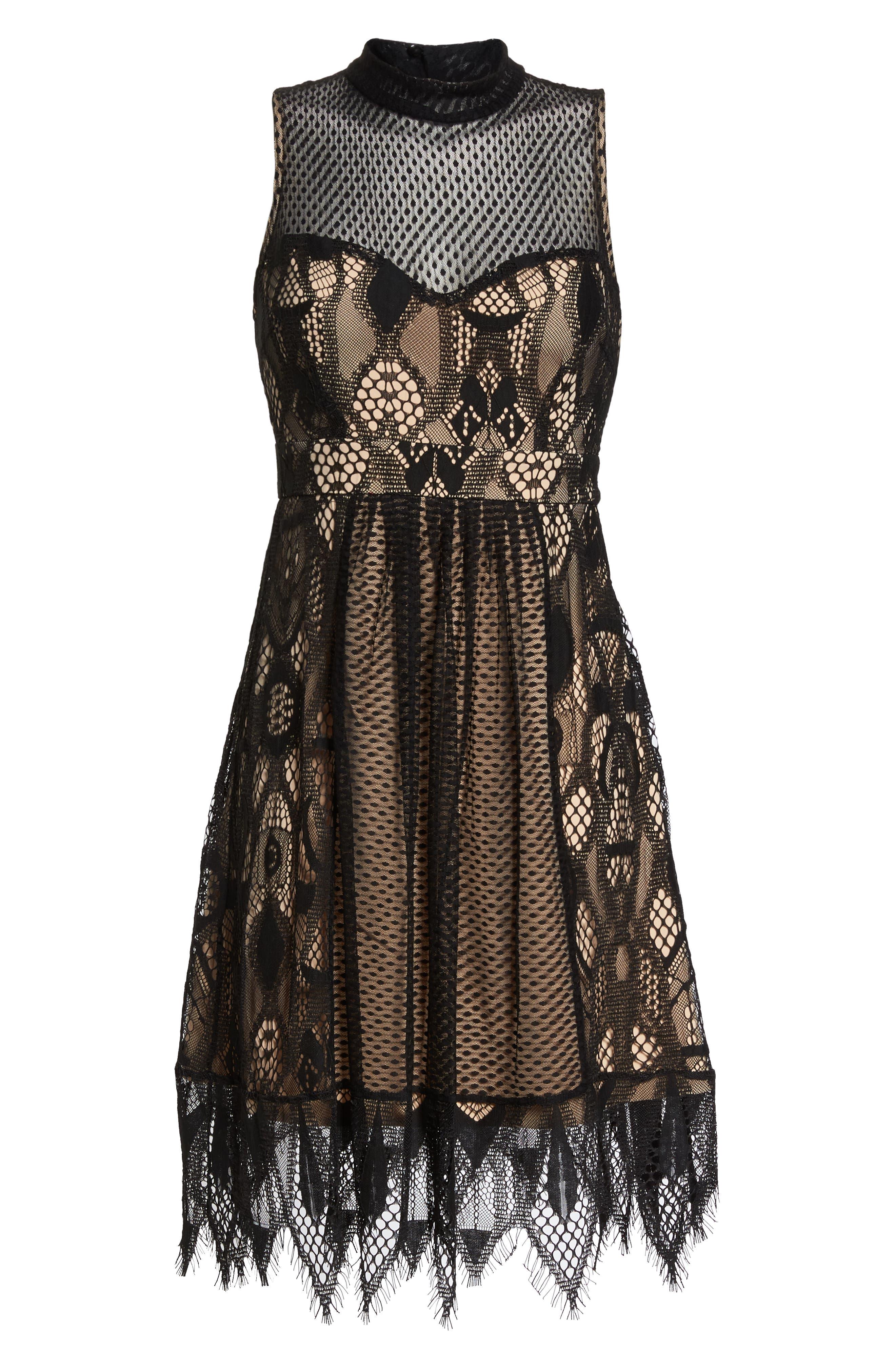 Gloria Fit & Flare Dress,                             Alternate thumbnail 7, color,                             001