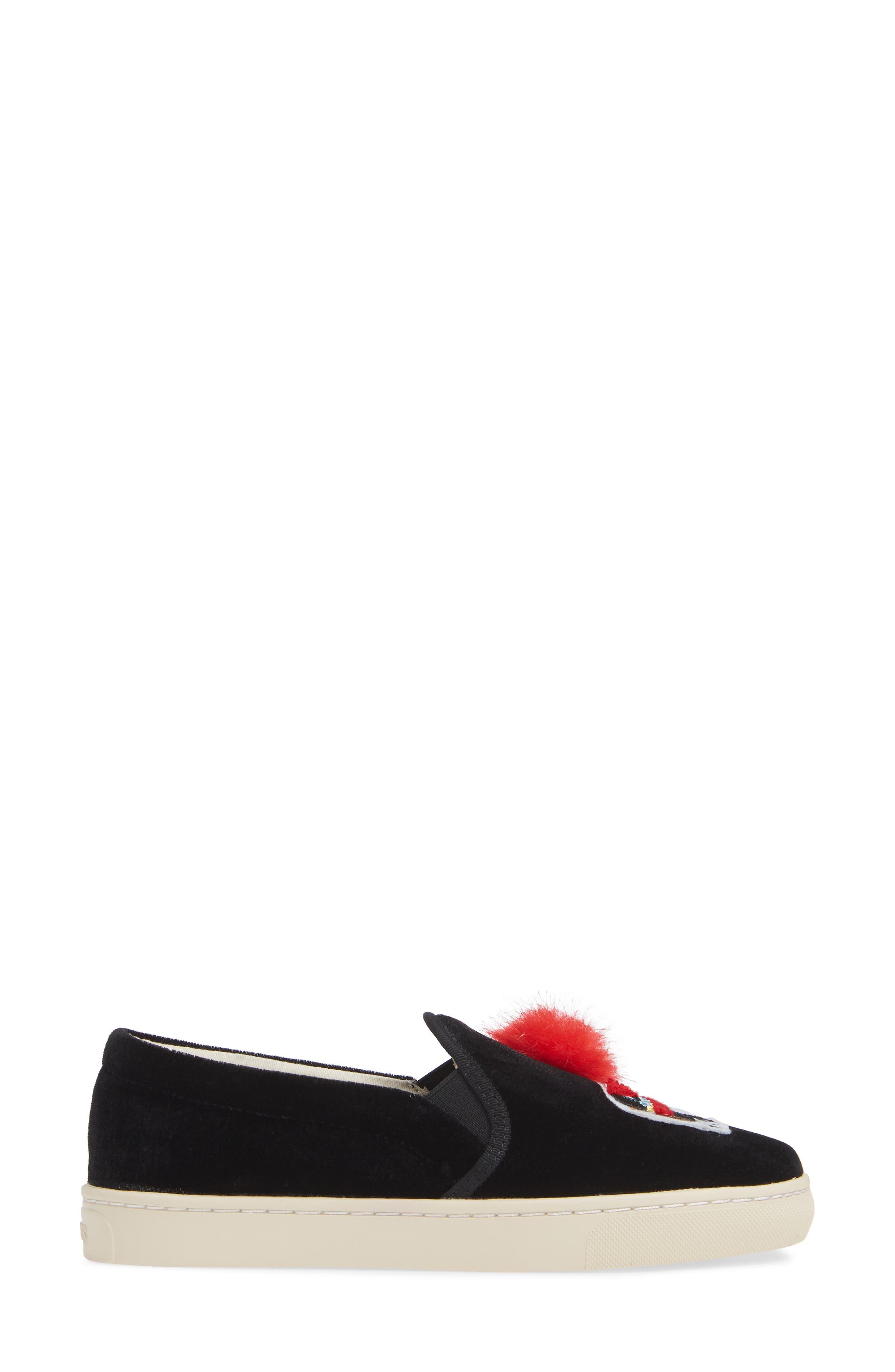 Appliqué Sneaker,                             Alternate thumbnail 4, color,                             001
