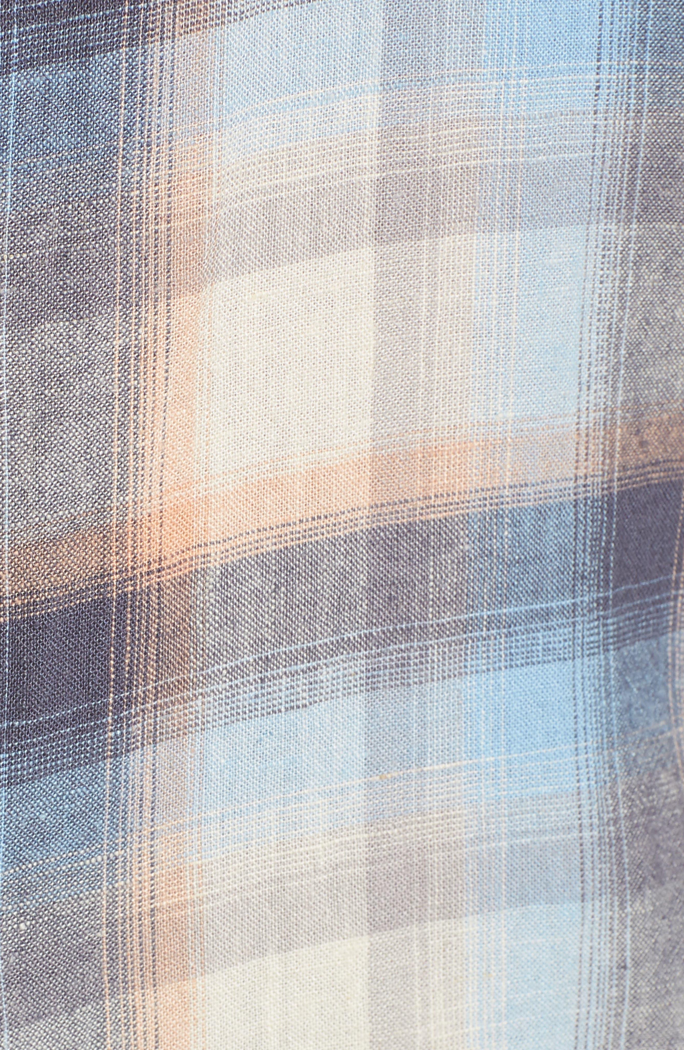 Plaid Linen Blend Shirt,                             Alternate thumbnail 5, color,                             420