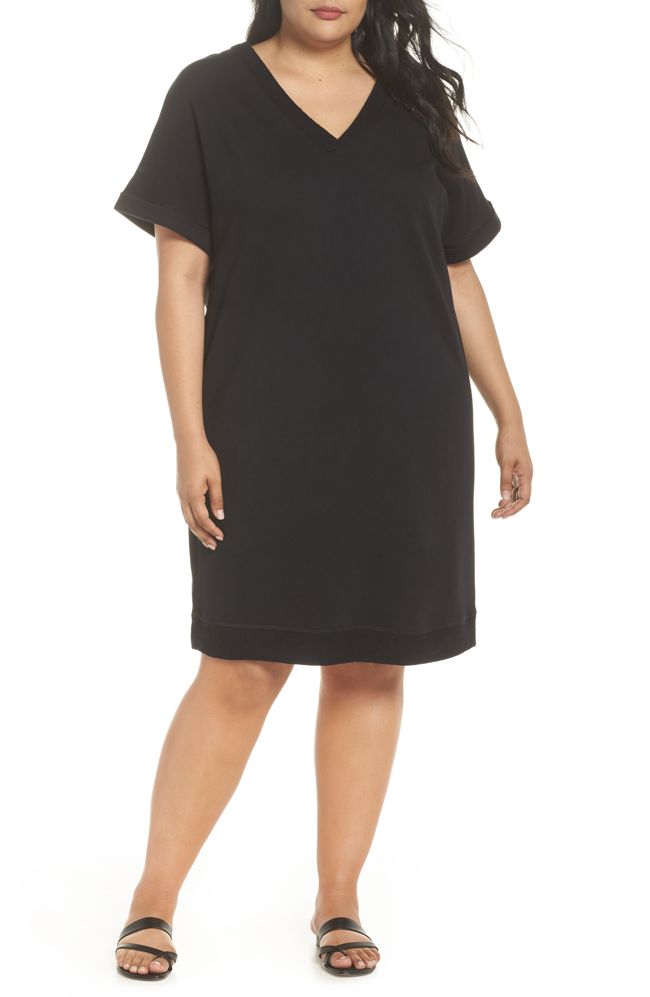 Off-Duty French Terry Dress,                         Main,                         color, BLACK