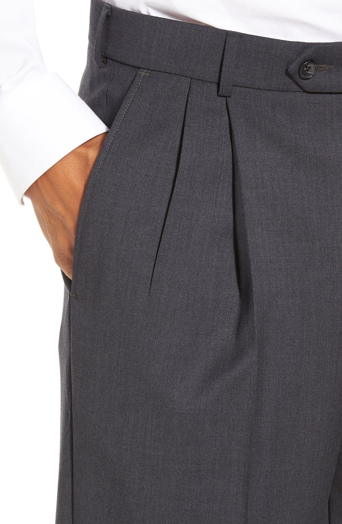 Pleated Solid Wool Trousers,                             Alternate thumbnail 43, color,
