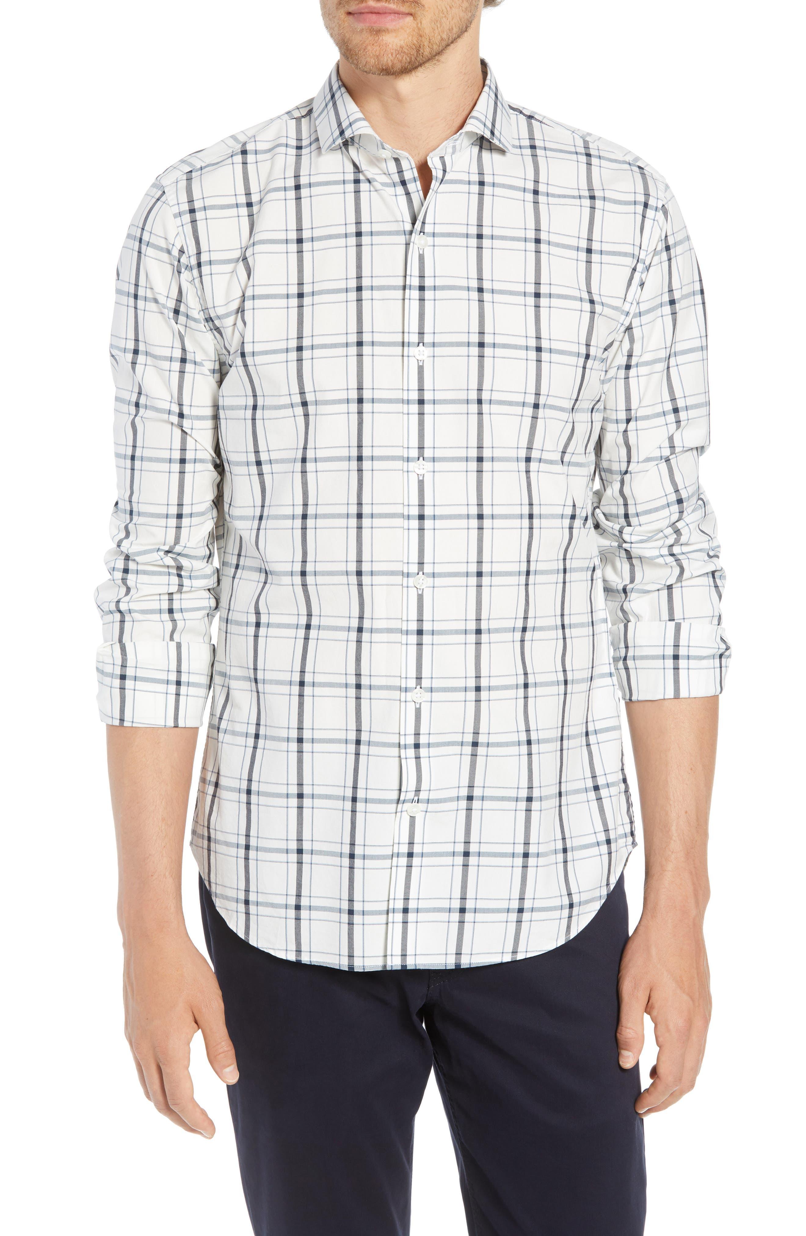Unbutton Down Slim Fit Plaid Sport Shirt,                         Main,                         color, GOLDHURST PLAID -BLUE JAY