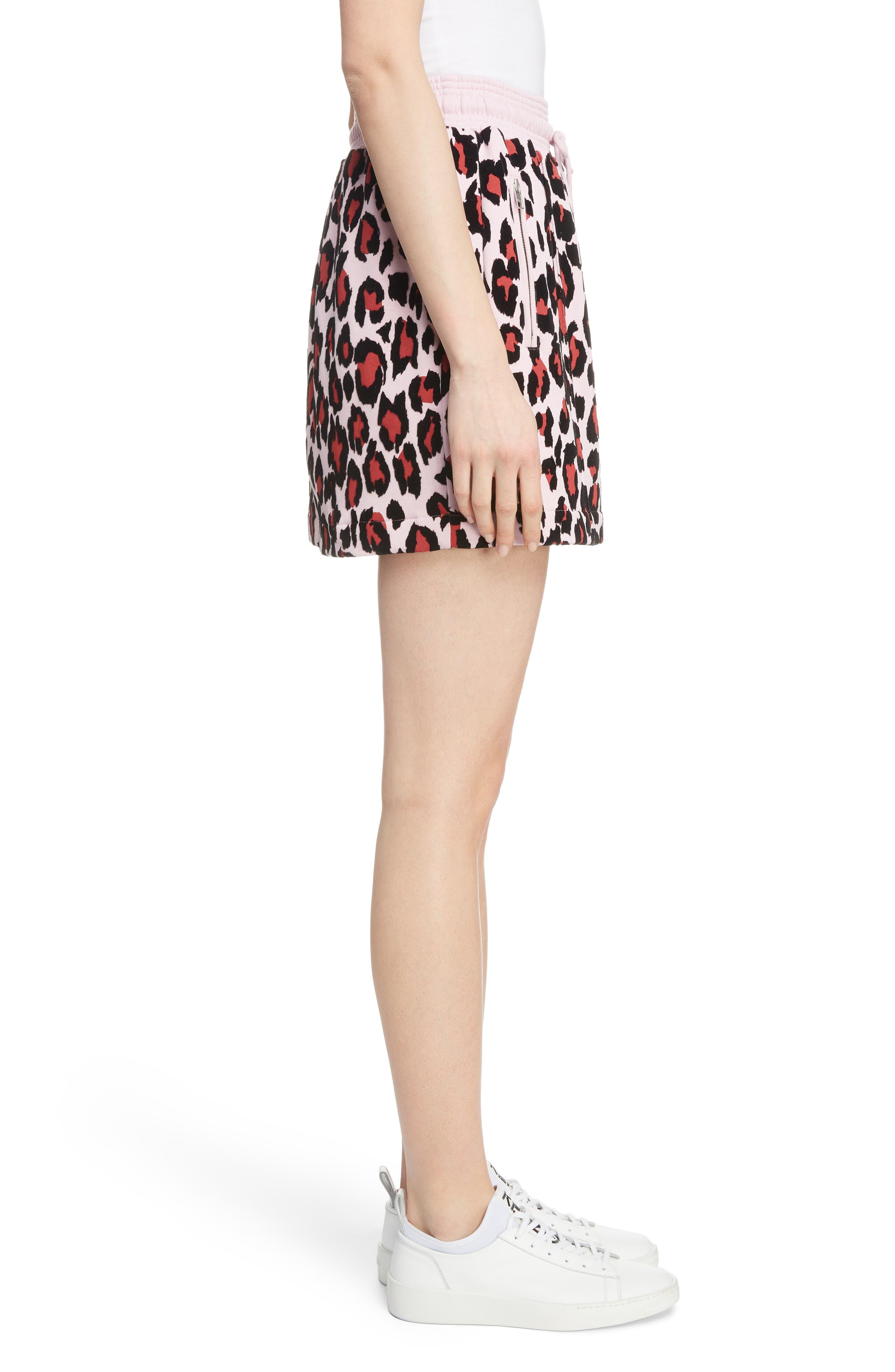 Leopard Print Jogging Miniskirt,                             Alternate thumbnail 3, color,                             MOLLETON PASTEL PINK