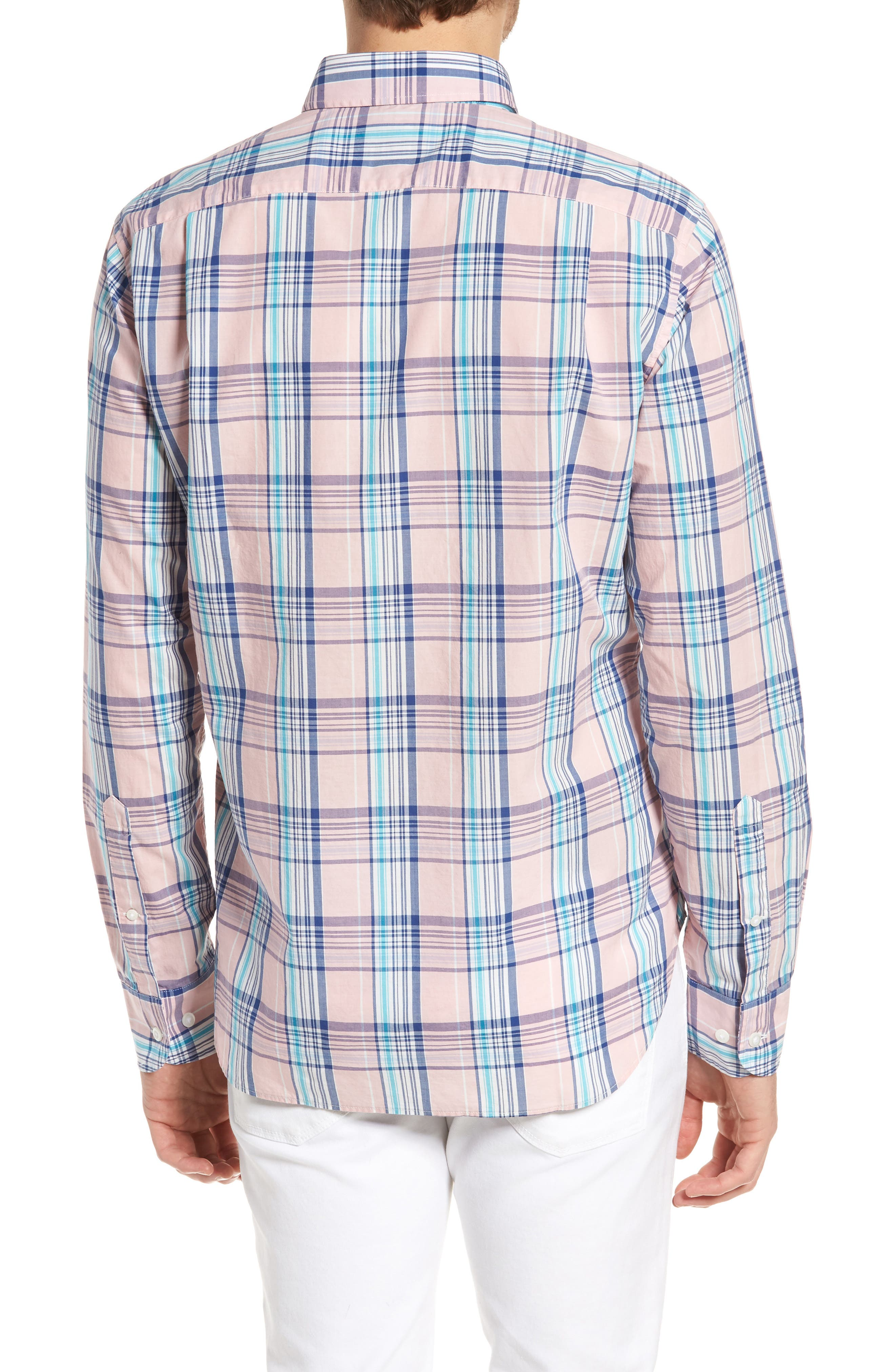 Slim Fit Summerweight Plaid Sport Shirt,                             Alternate thumbnail 2, color,                             650
