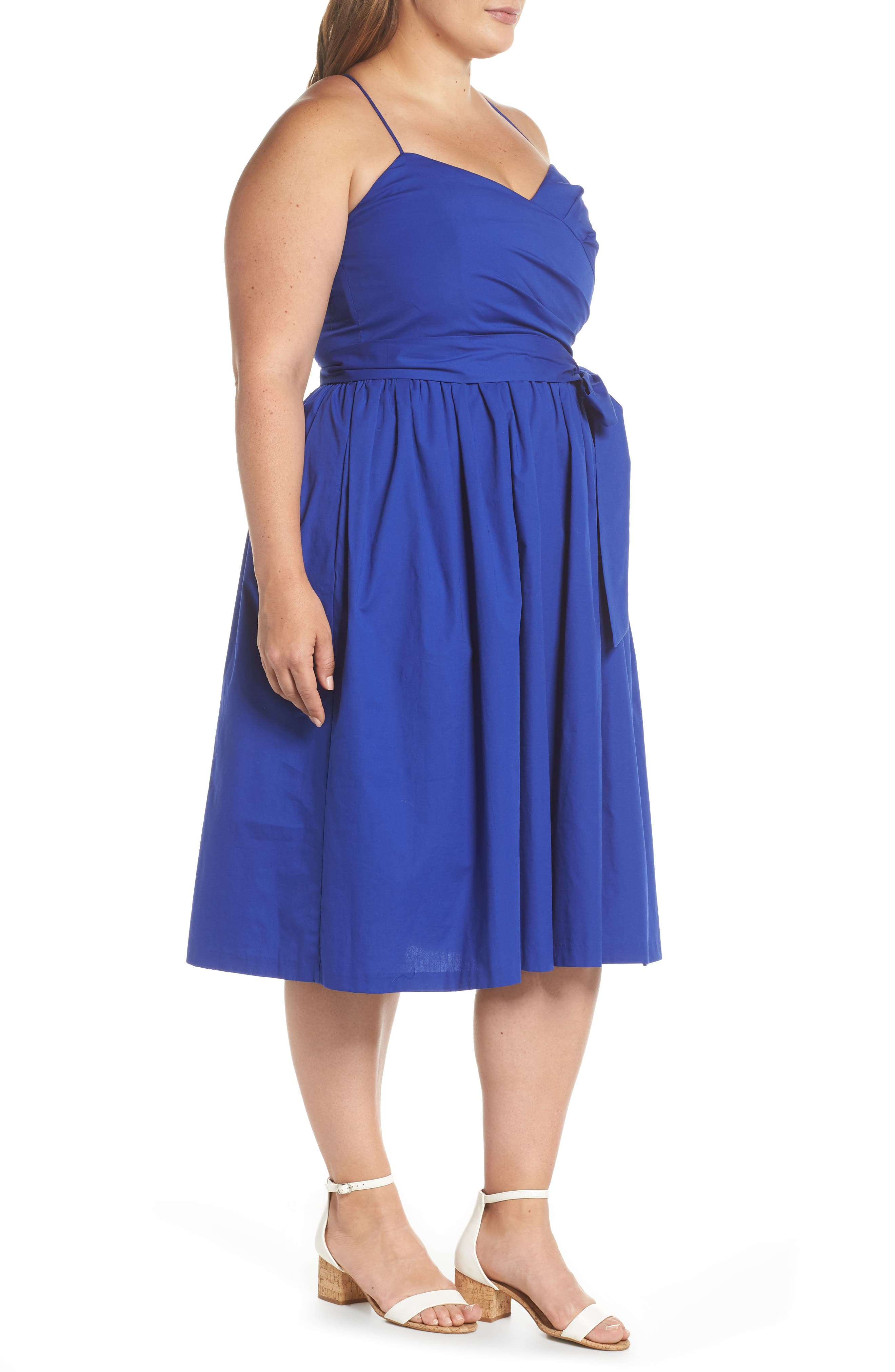 Strappy Fit & Flare Midi Dress,                             Alternate thumbnail 3, color,