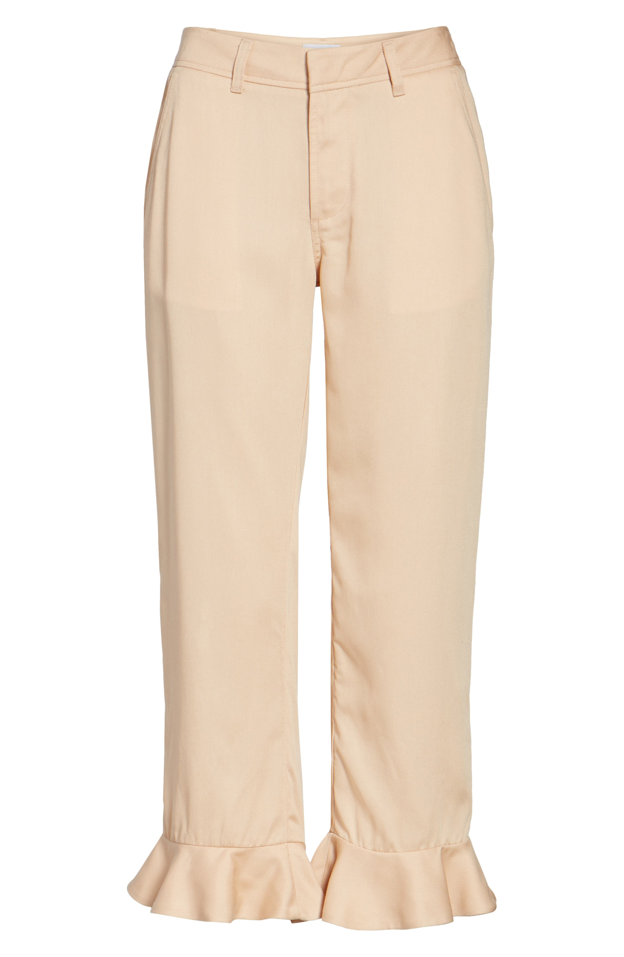 Ruffle Ankle Trousers,                             Alternate thumbnail 6, color,