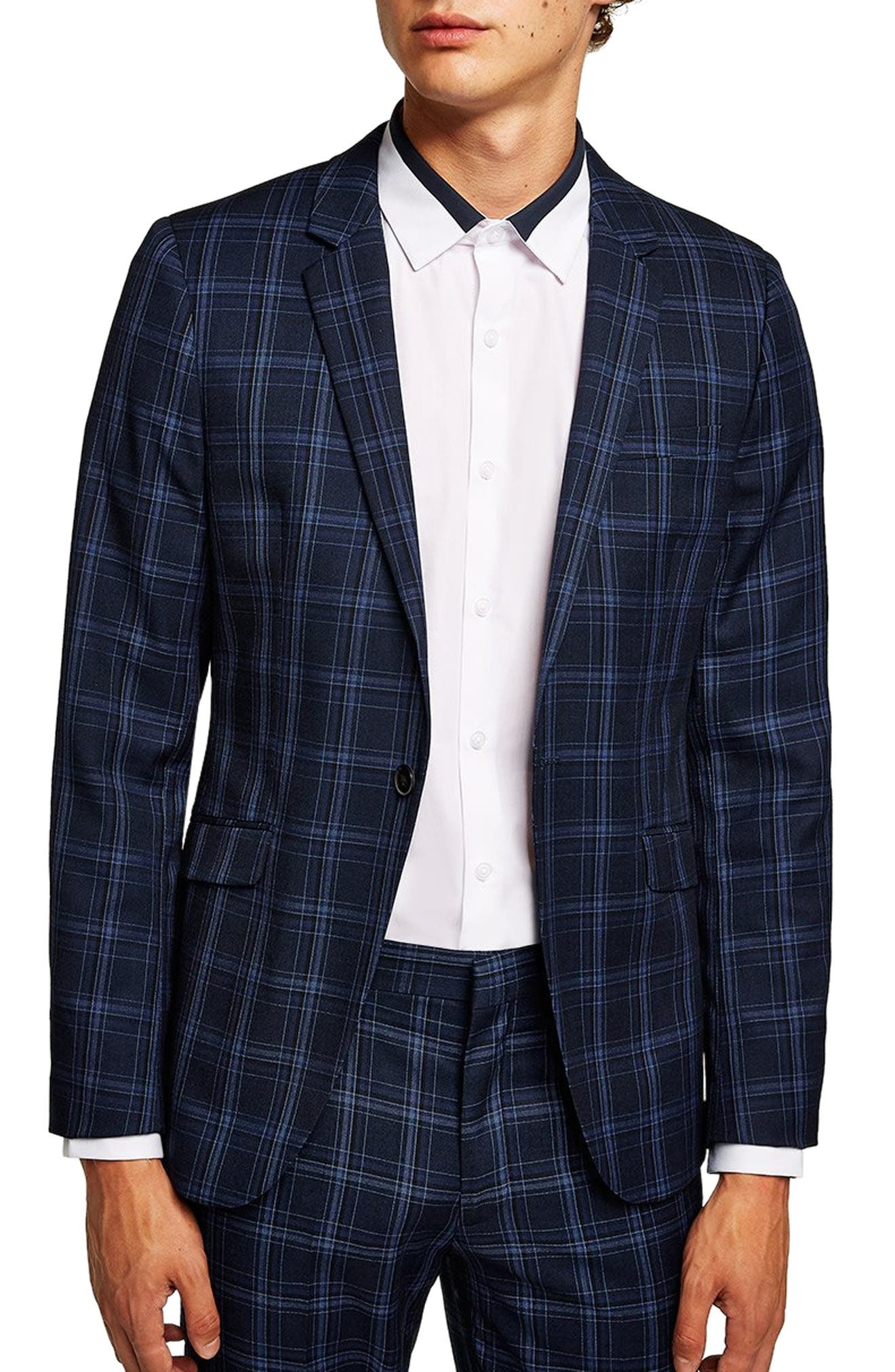 Skinny Fit Check Suit Jacket,                         Main,                         color, BLUE