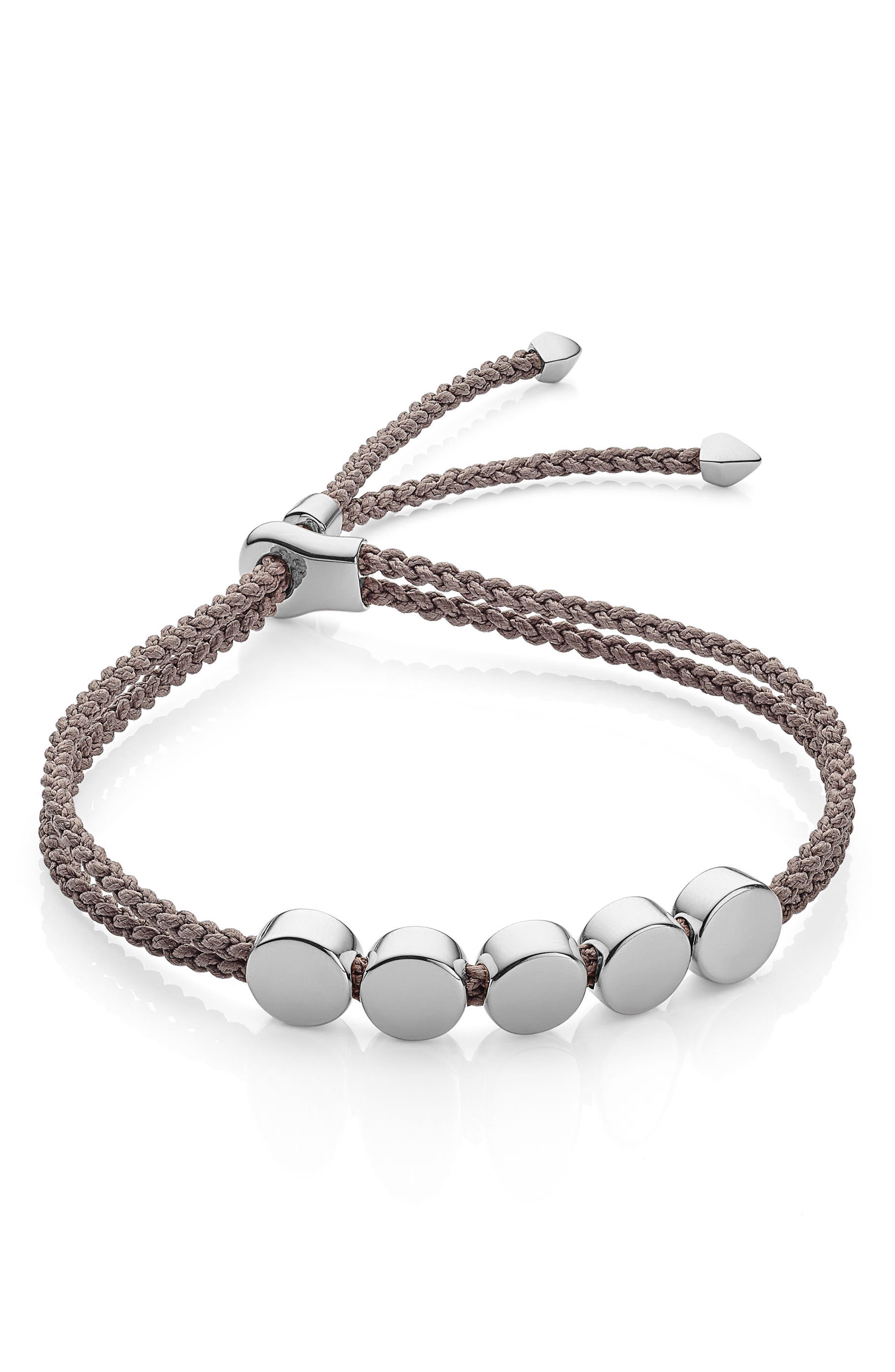 Engravable Beaded Friendship Bracelet,                         Main,                         color, MINK/ SILVER
