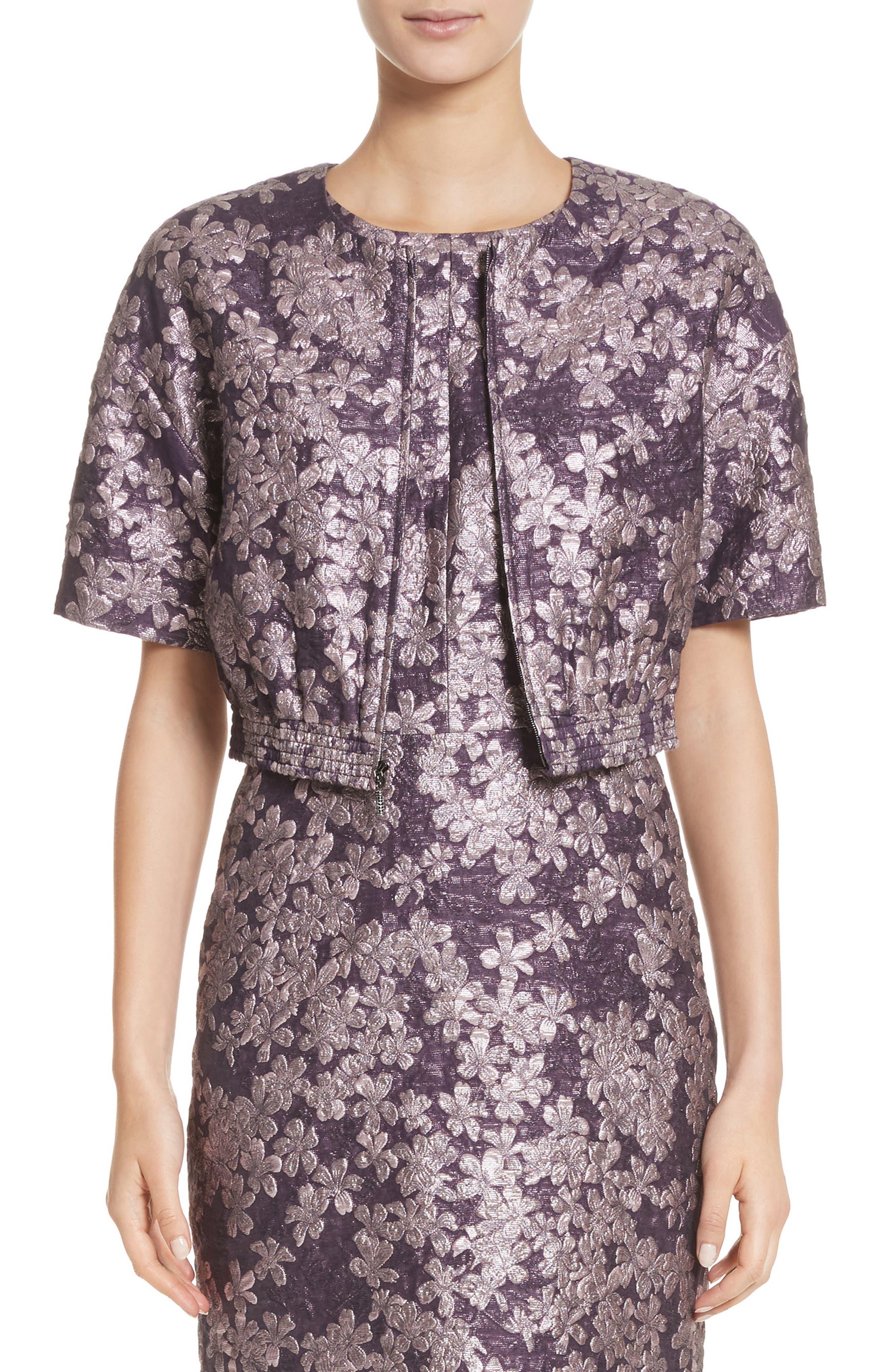 Floral Jacquard Jacket,                         Main,                         color, 560