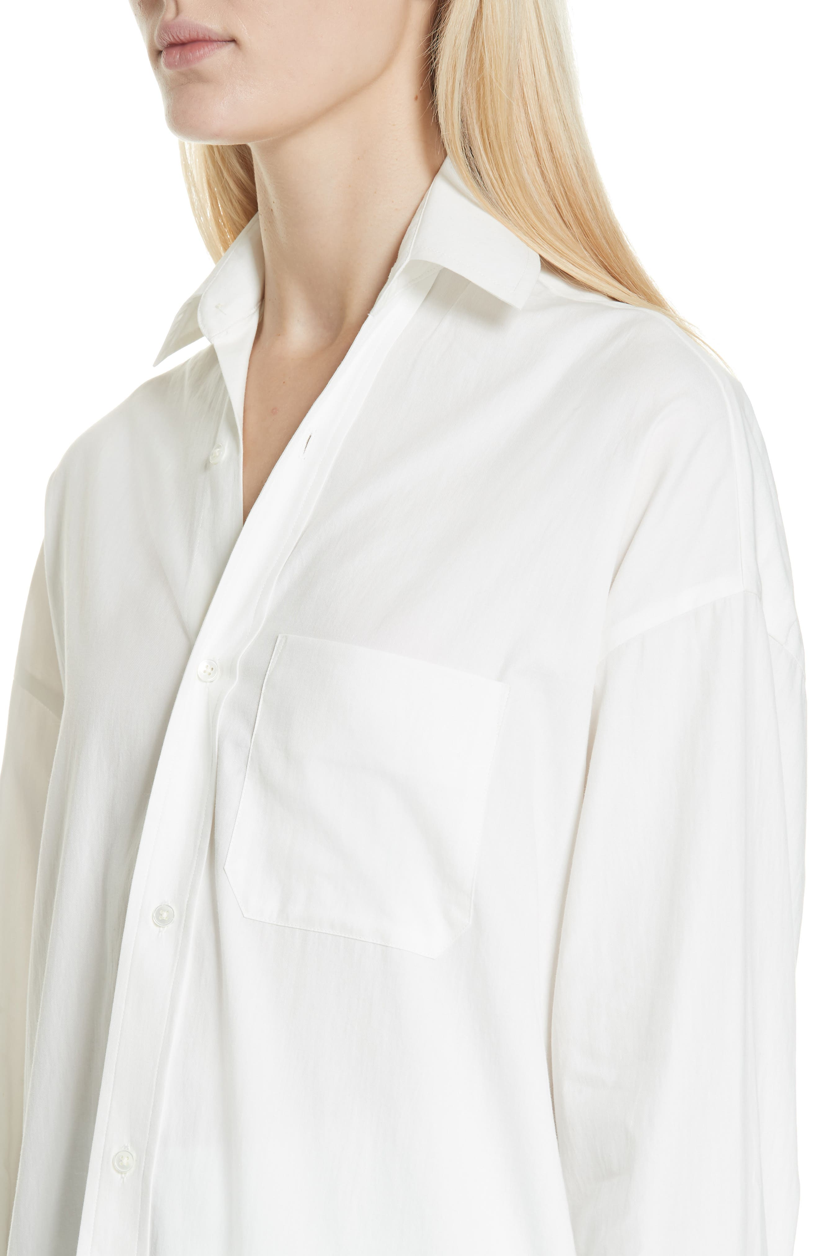 VINCE,                             Oversize Classic Cotton & Silk Shirt,                             Alternate thumbnail 4, color,                             137
