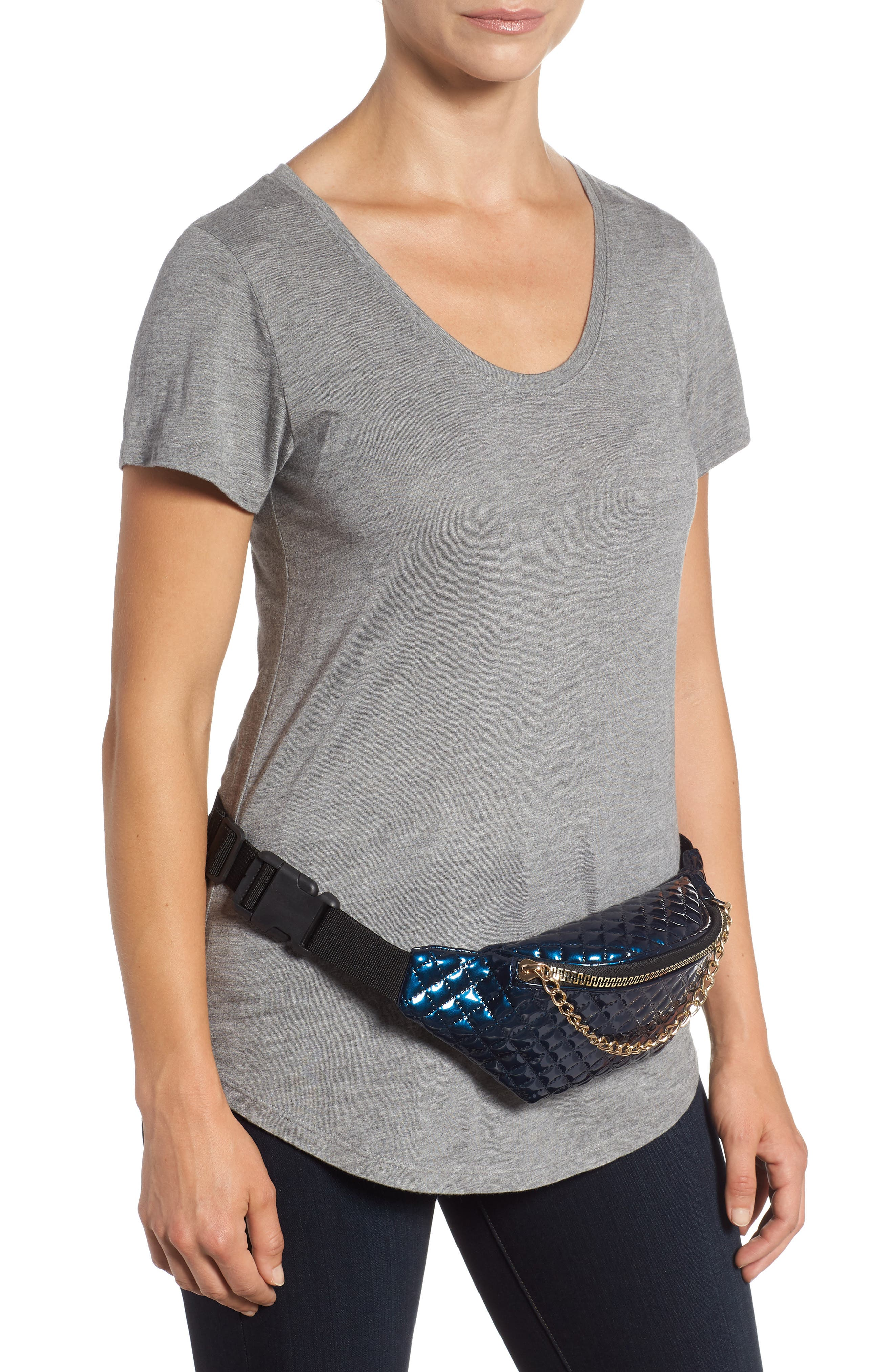 Chain Detail Quilted Belt Bag,                             Alternate thumbnail 2, color,                             400