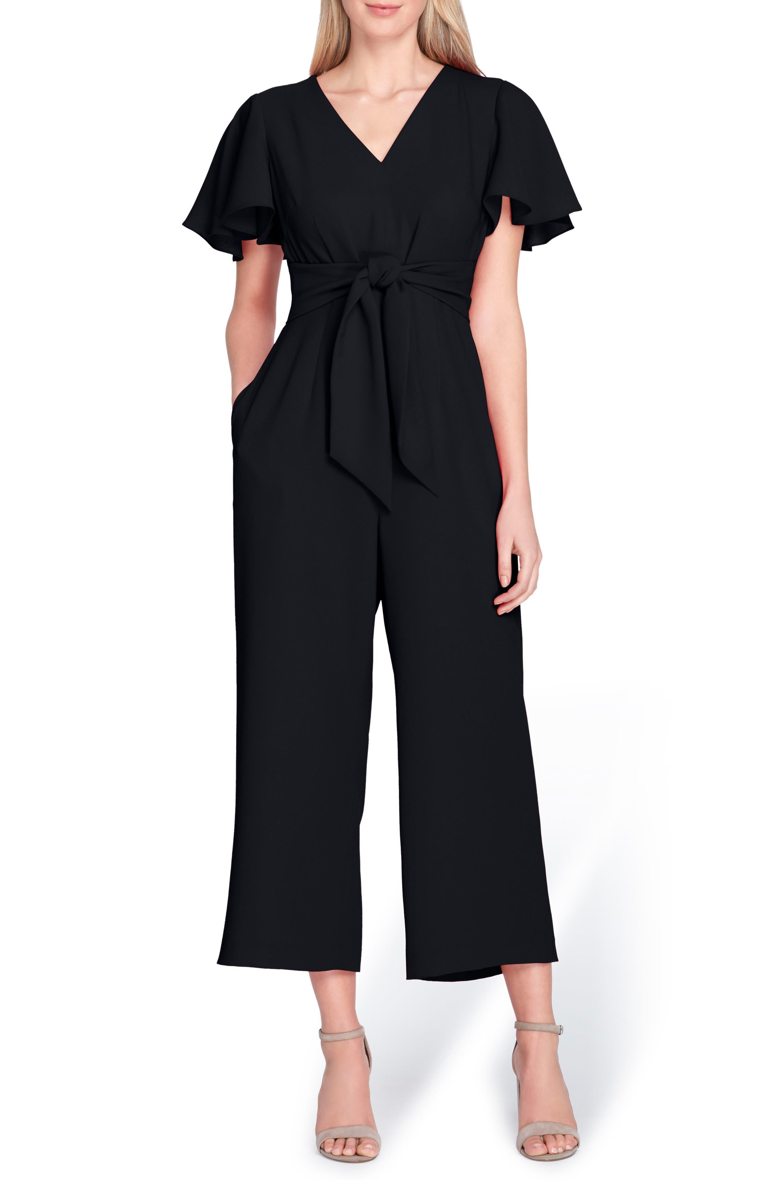Short Sleeve Crepe Jumpsuit,                         Main,                         color, 001