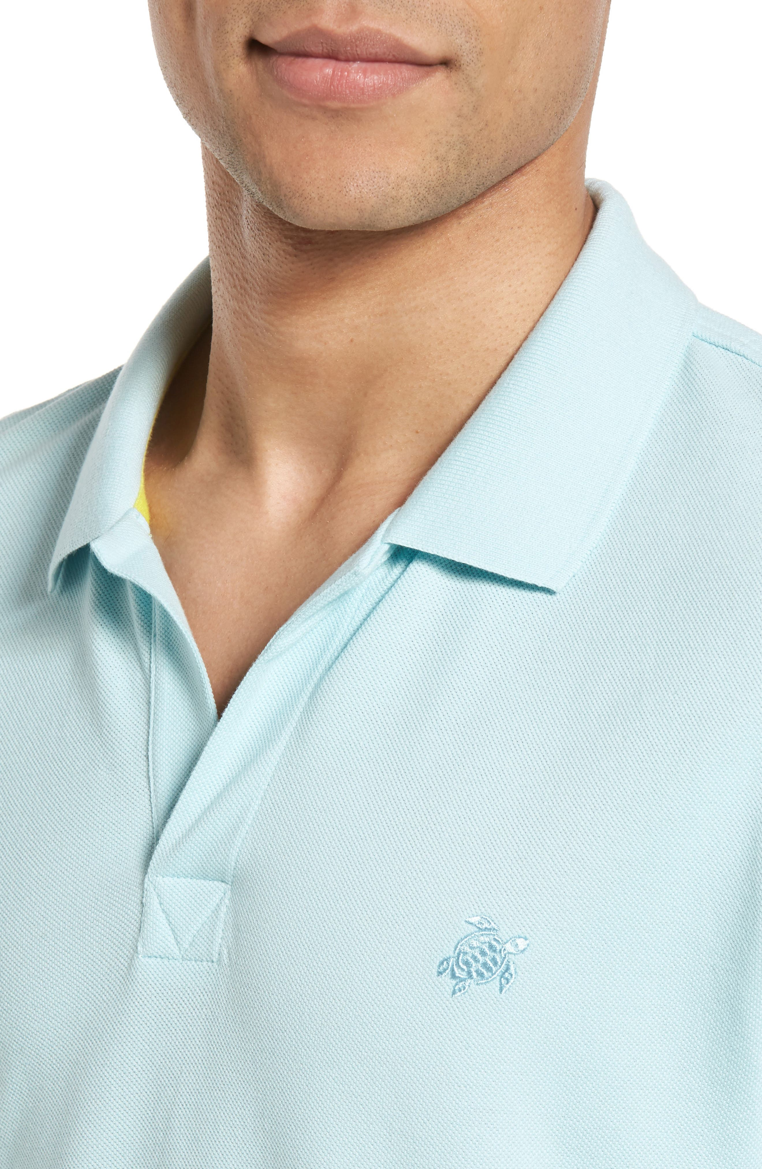 Contrast Cuff Piqué Polo,                             Alternate thumbnail 4, color,                             FROSTED BLUE