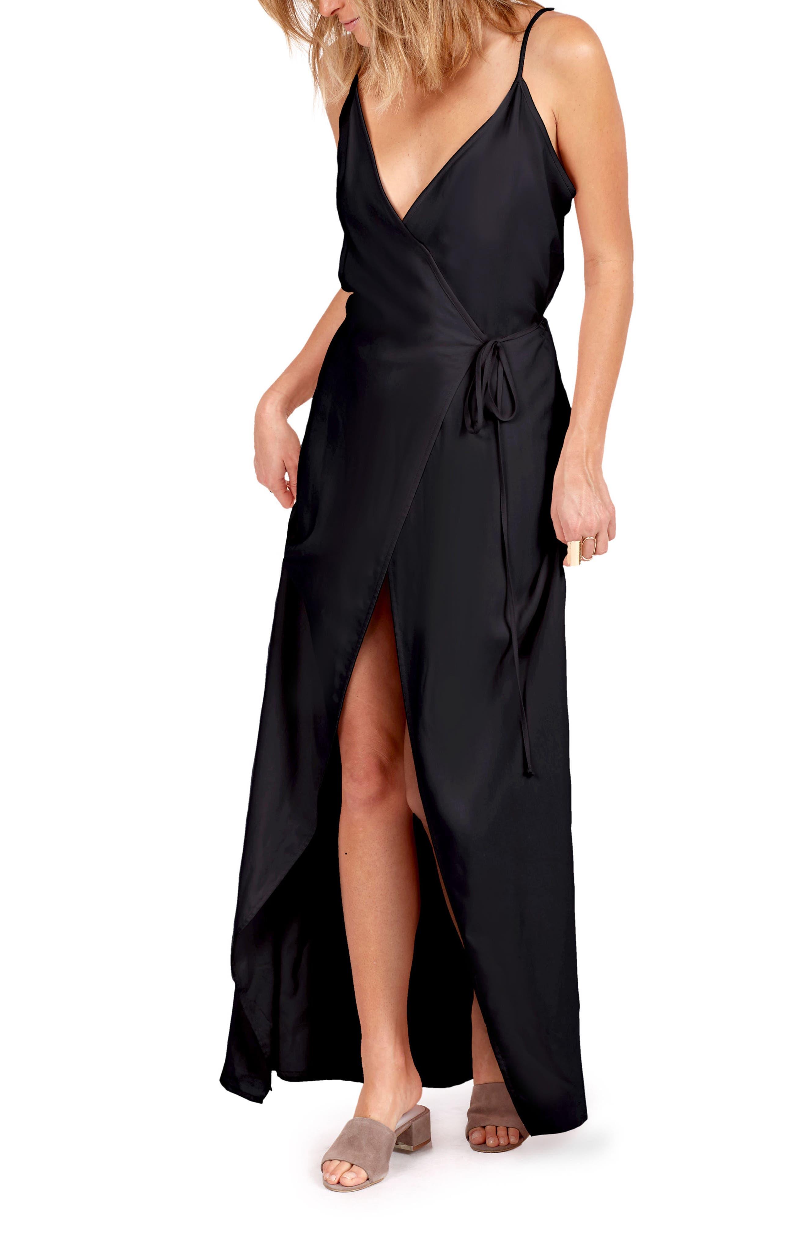 Leo Wrap Maxi Dress,                             Alternate thumbnail 2, color,                             001